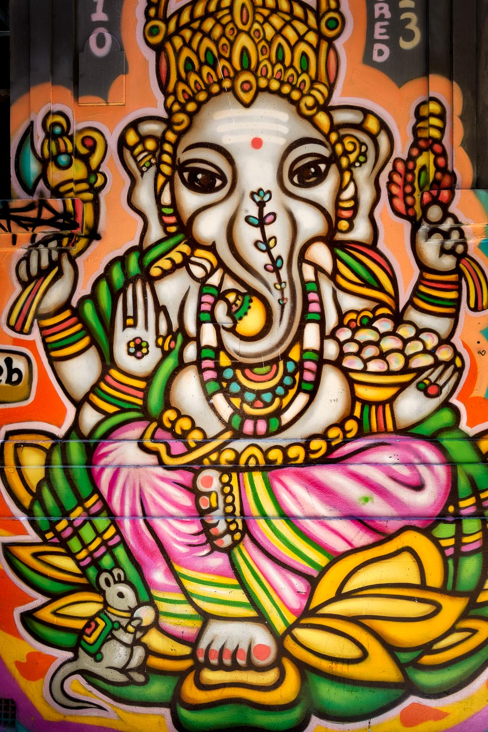 A beautiful    street art    image of the    Hindu god Ganesh    in    Hosier Lane, Melbourne   .