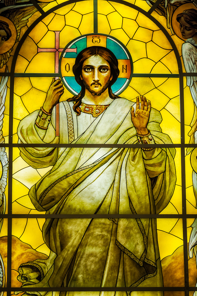 A spectacular image of    Jesus    in a    stained glass window    at    Peter and Paul Cathedral    in    St. Petersburg, Russia   .