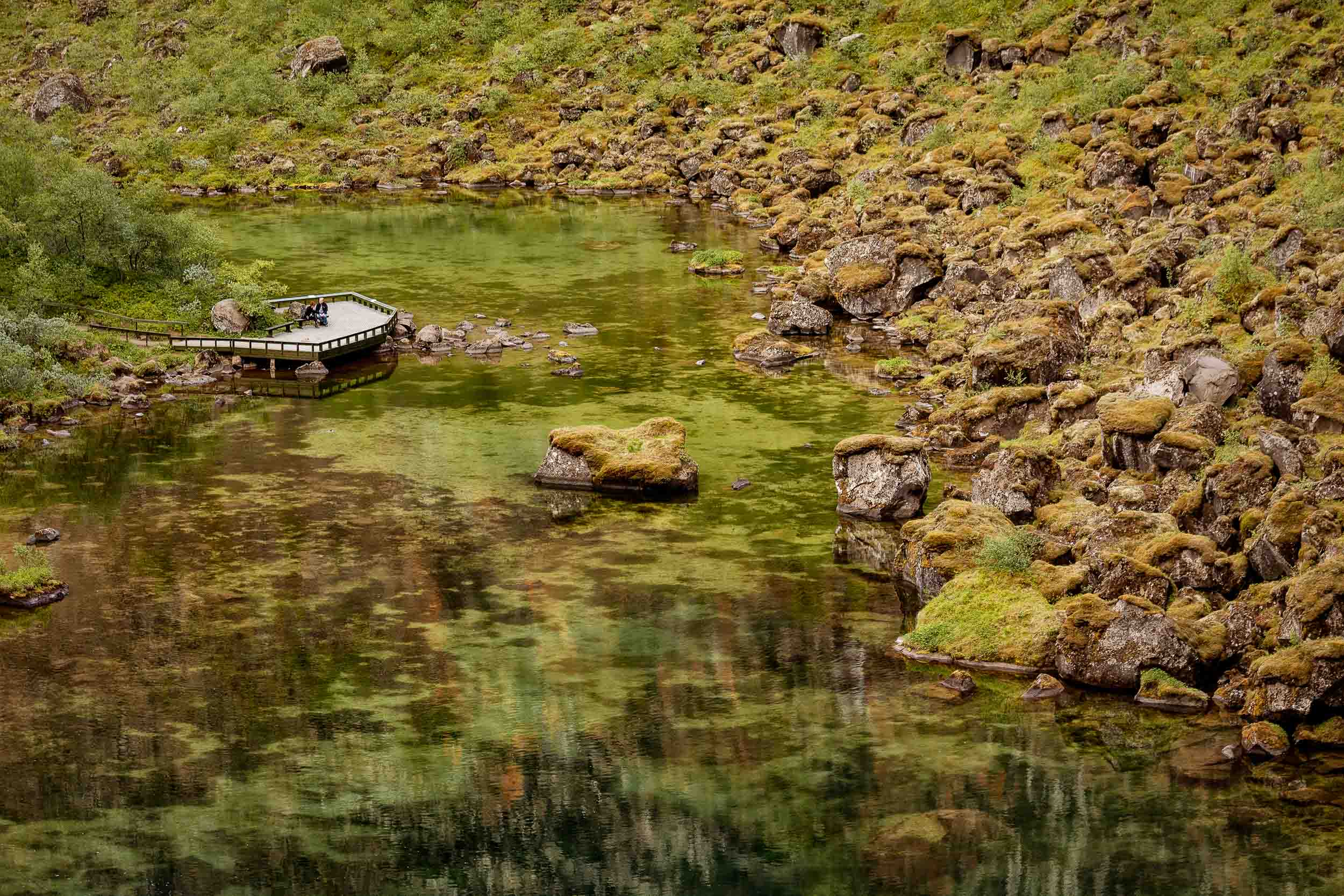 A    tranquil scene   , in a secluded valley, in    northern Iceland   .