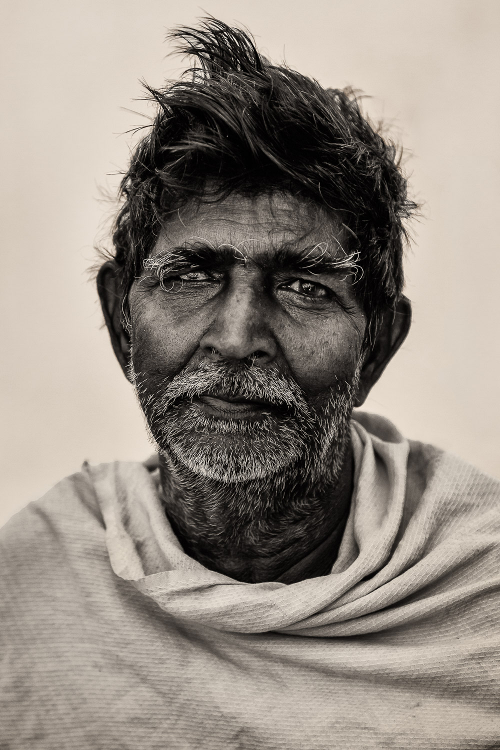 The look of    a life very much lived    in the eyes of this    dignified man    in    Chennai, India   .