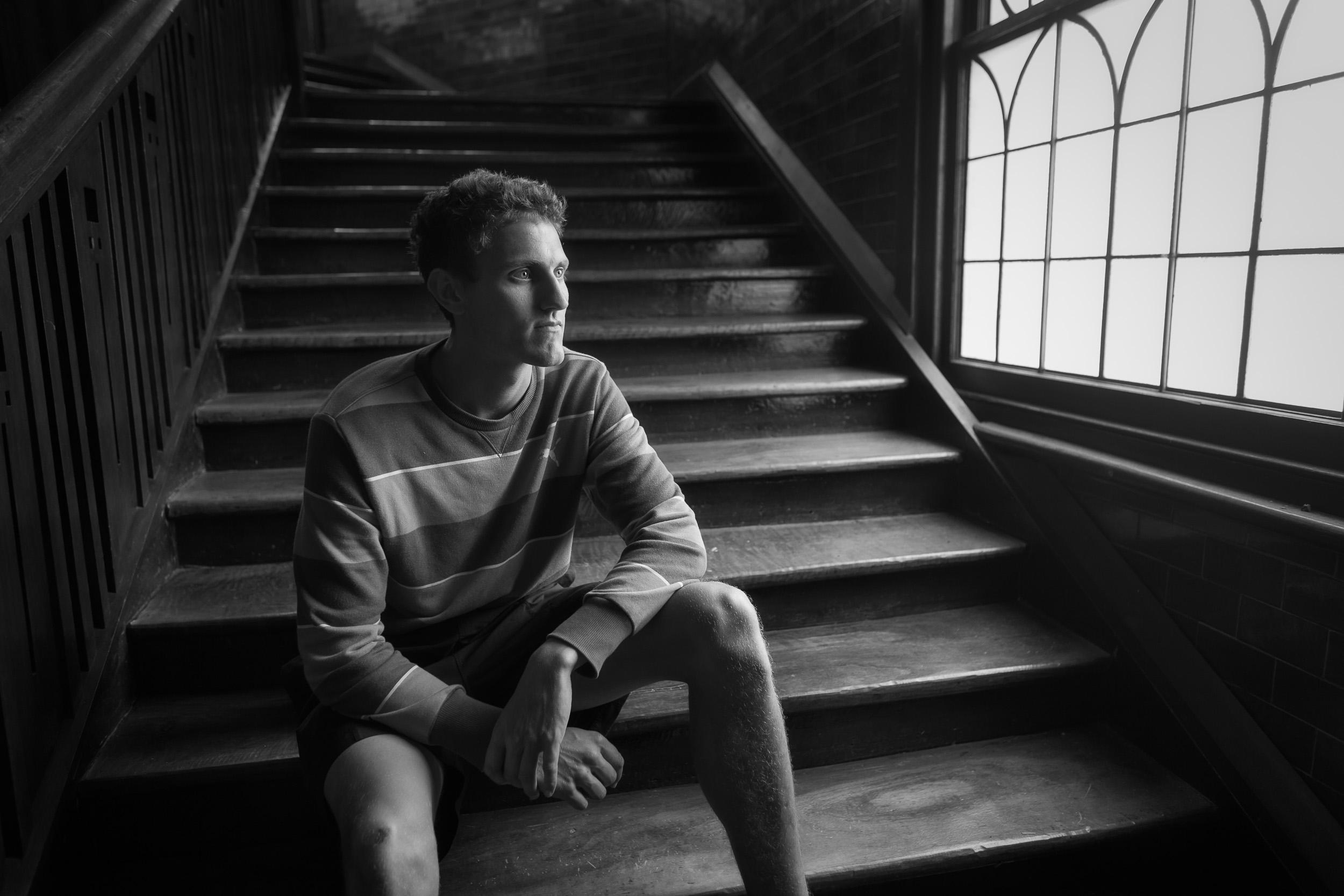 Black and white    portrait   , photographed with    window light   , in a pub in    Mildura, Australia   .
