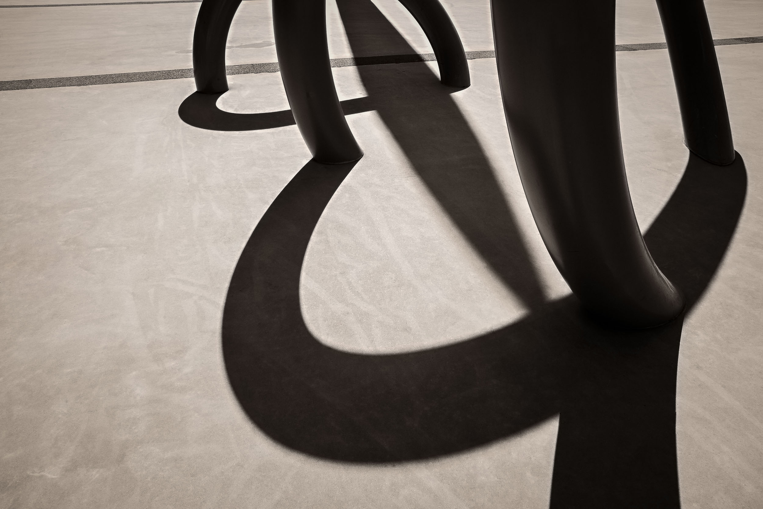 A detail of an    architectural element   , in    silhouette   , at    Etihad Stadium    in Melbourne,    Australia   .