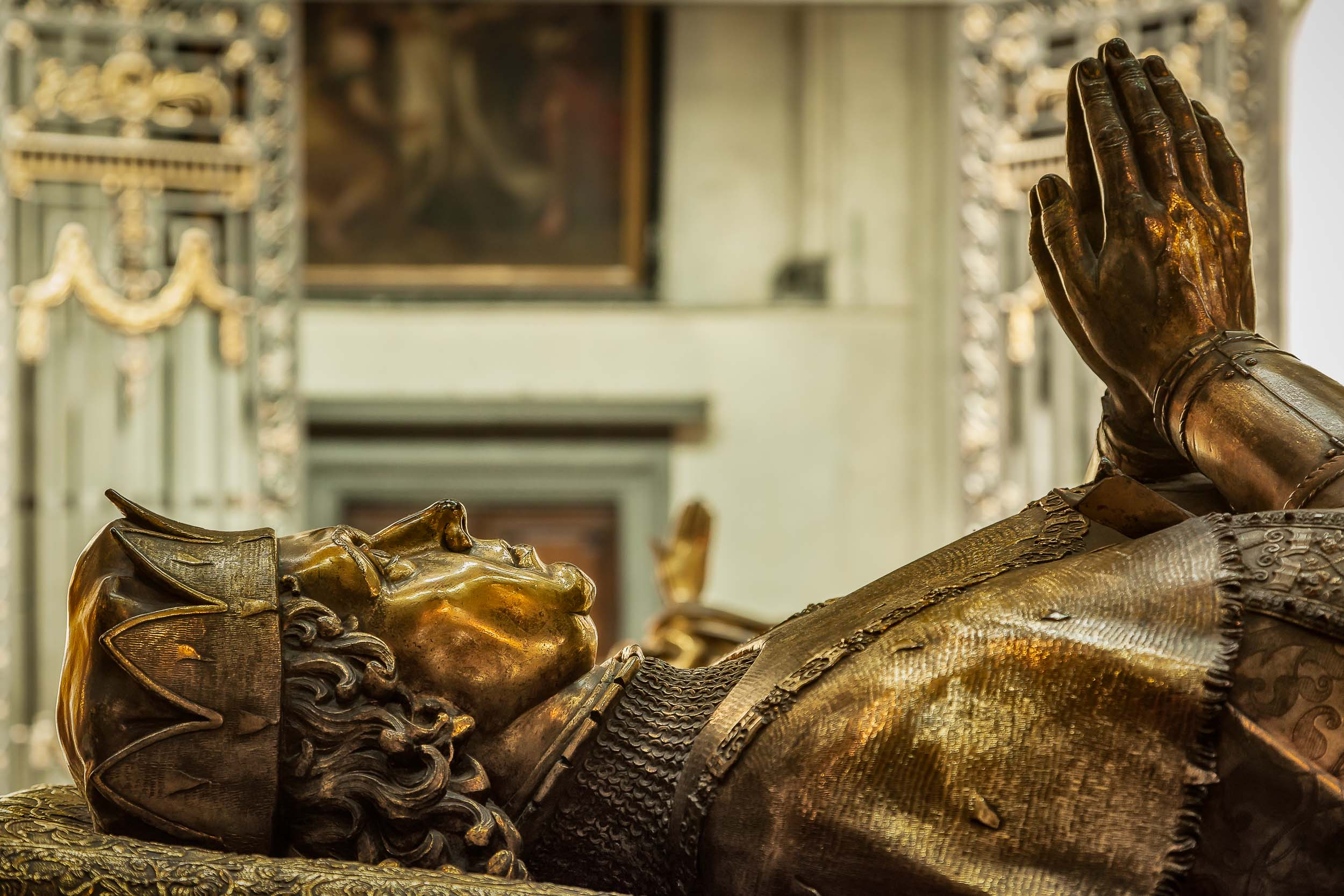A statue on top of the    tomb of Charles the Bold    in the    Church Of Our Lady    in    Bruges, Belgium   .