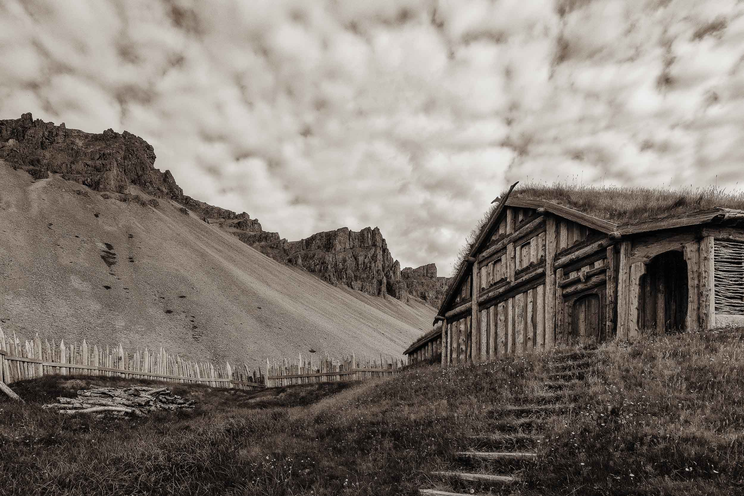 A replica of a    Viking village    in a dramatic setting near    Höfn    in rural    Iceland   .
