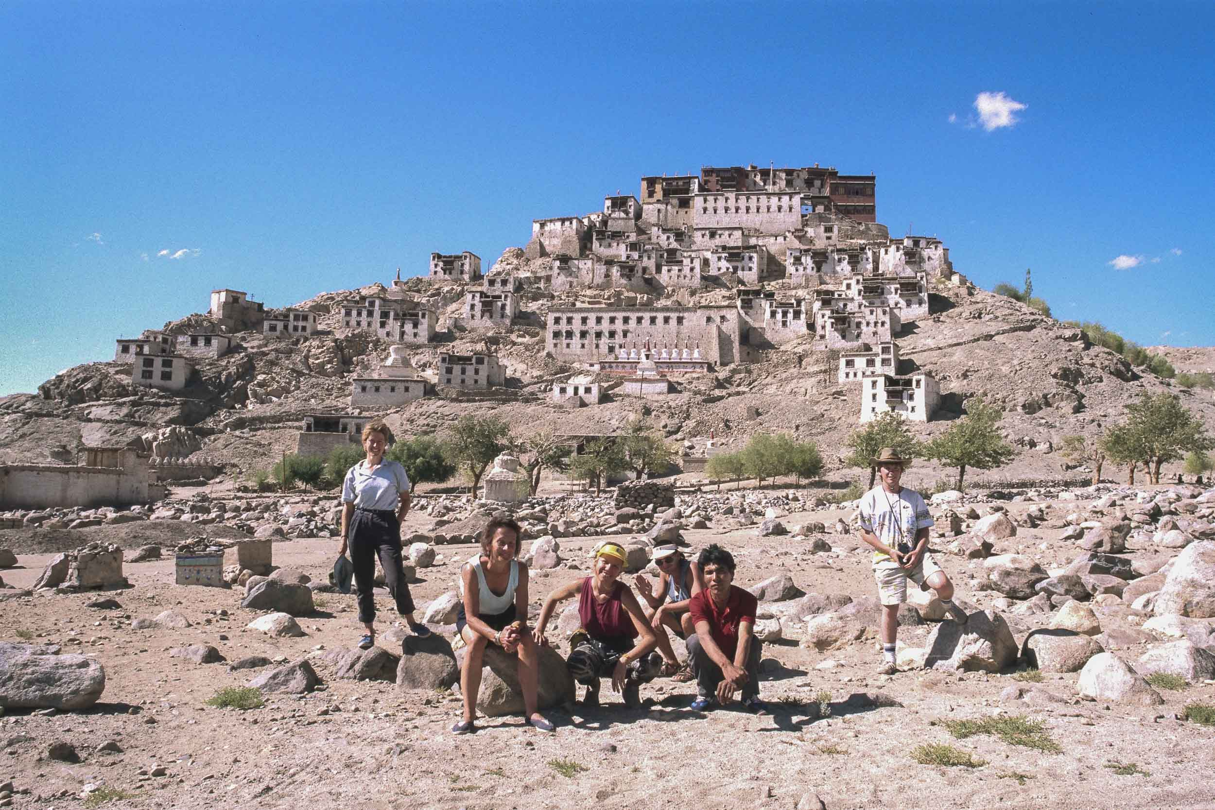 A photo of    Glenn Guy   , the    Travel Photography Guru   , and travelling companions in front of, I think, the    Tikse Gompa    in    Ladakh, India    way back in    1988   .