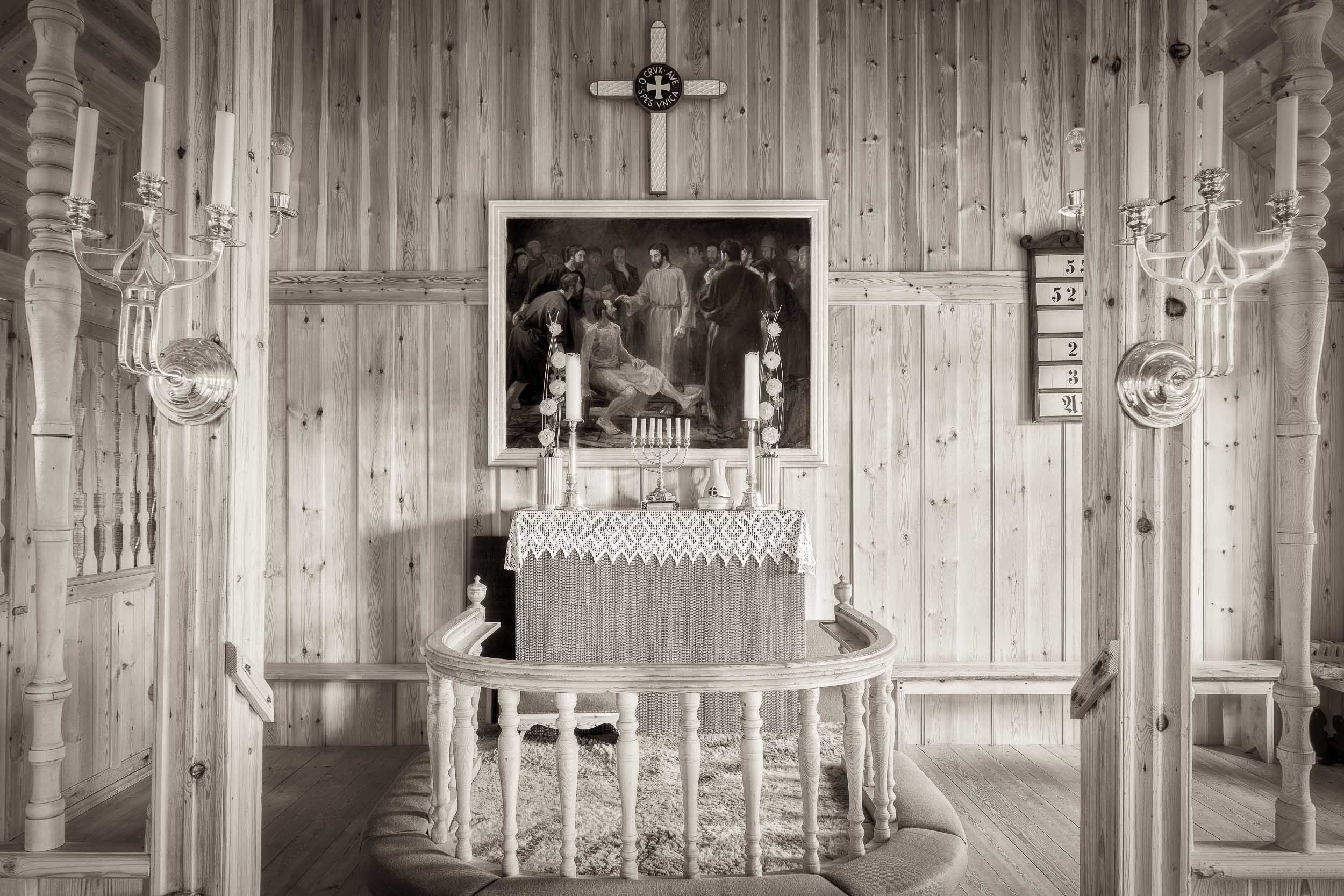 The wooden interior of the    Church Of Sandur    on the island of    Sandoy    in the    Faroe Islands   .