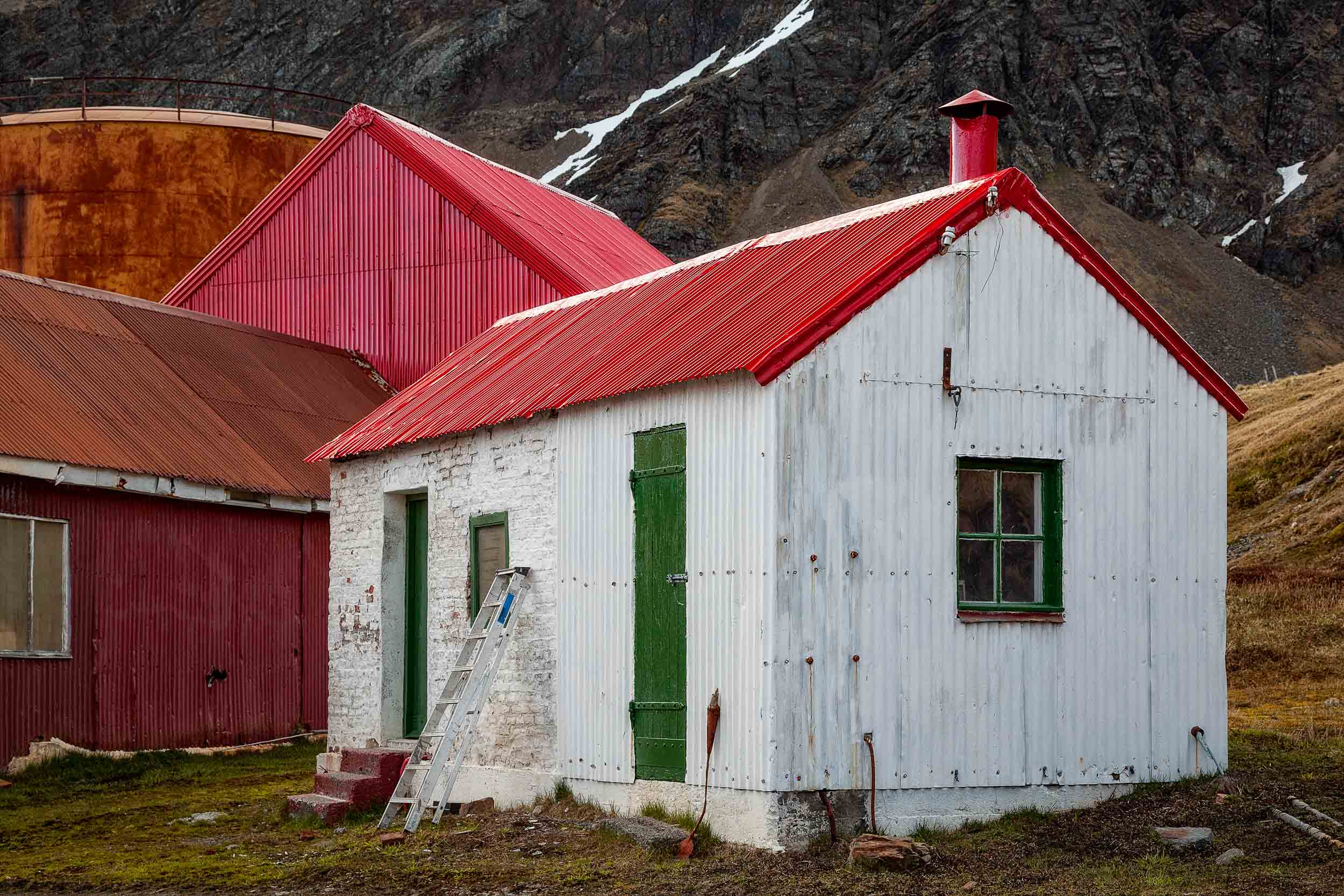 Renovations    underway at the former    Whaling Station    in    Grytviken    on    South Georgia Island   .