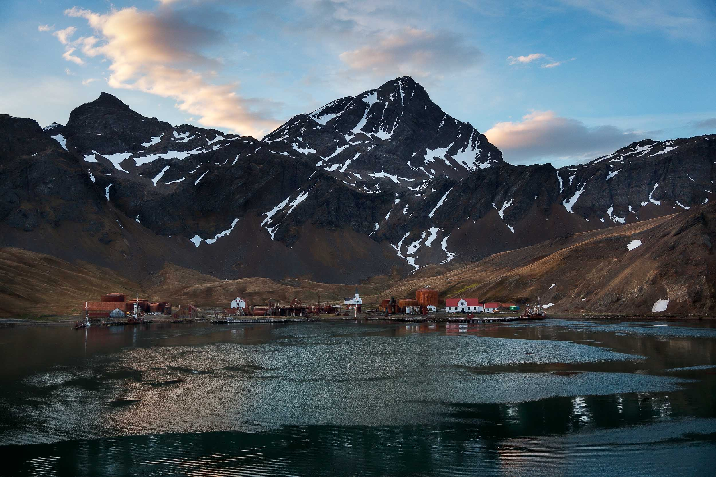 Overview of the    Grytviken Whaling Station    set amongst spectacular mountain scenery on    South Georgia Island   .
