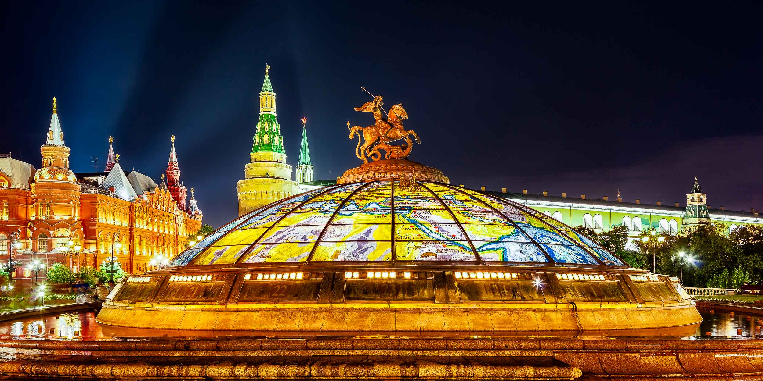 Vibrant colors of major    Moscow    landmarks, close to    Red Square   , at night.