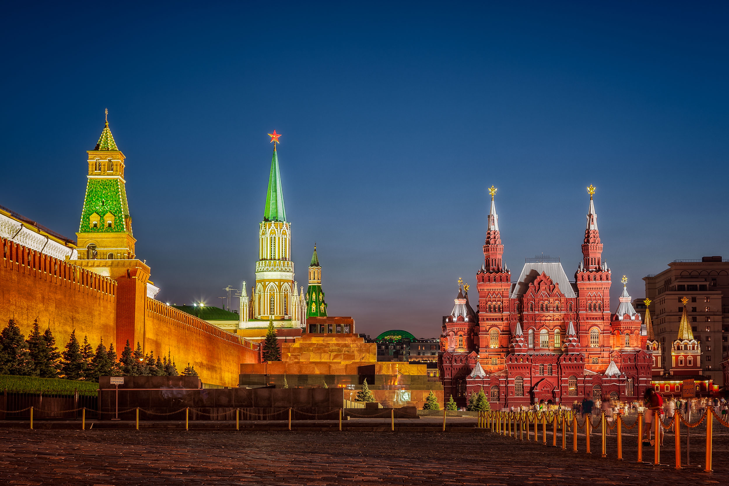 Night photos    in    Red Square   , Moscow on a warm summer's evening.
