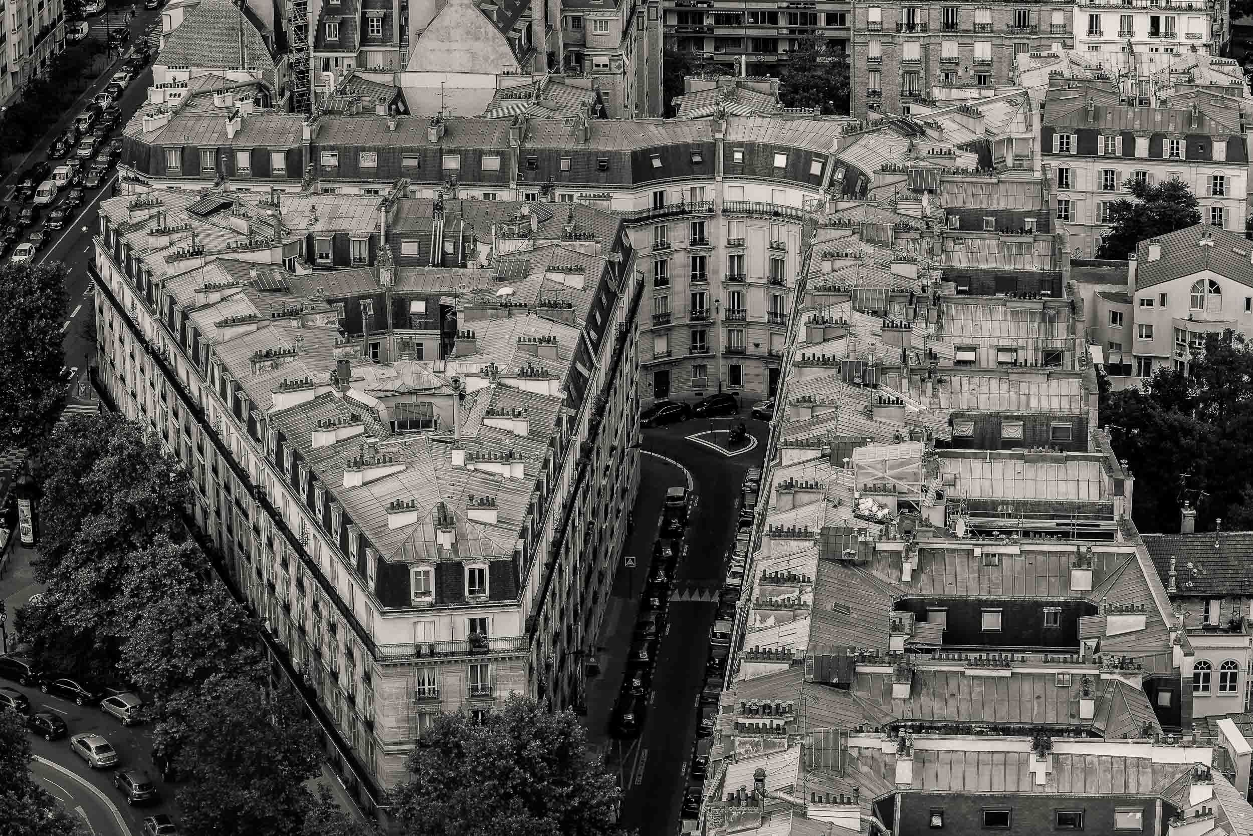A striking black and white photo featuring a classic view of    city living   , as seen from the top of the    Arc de Triomphe   , in    Paris, France   .