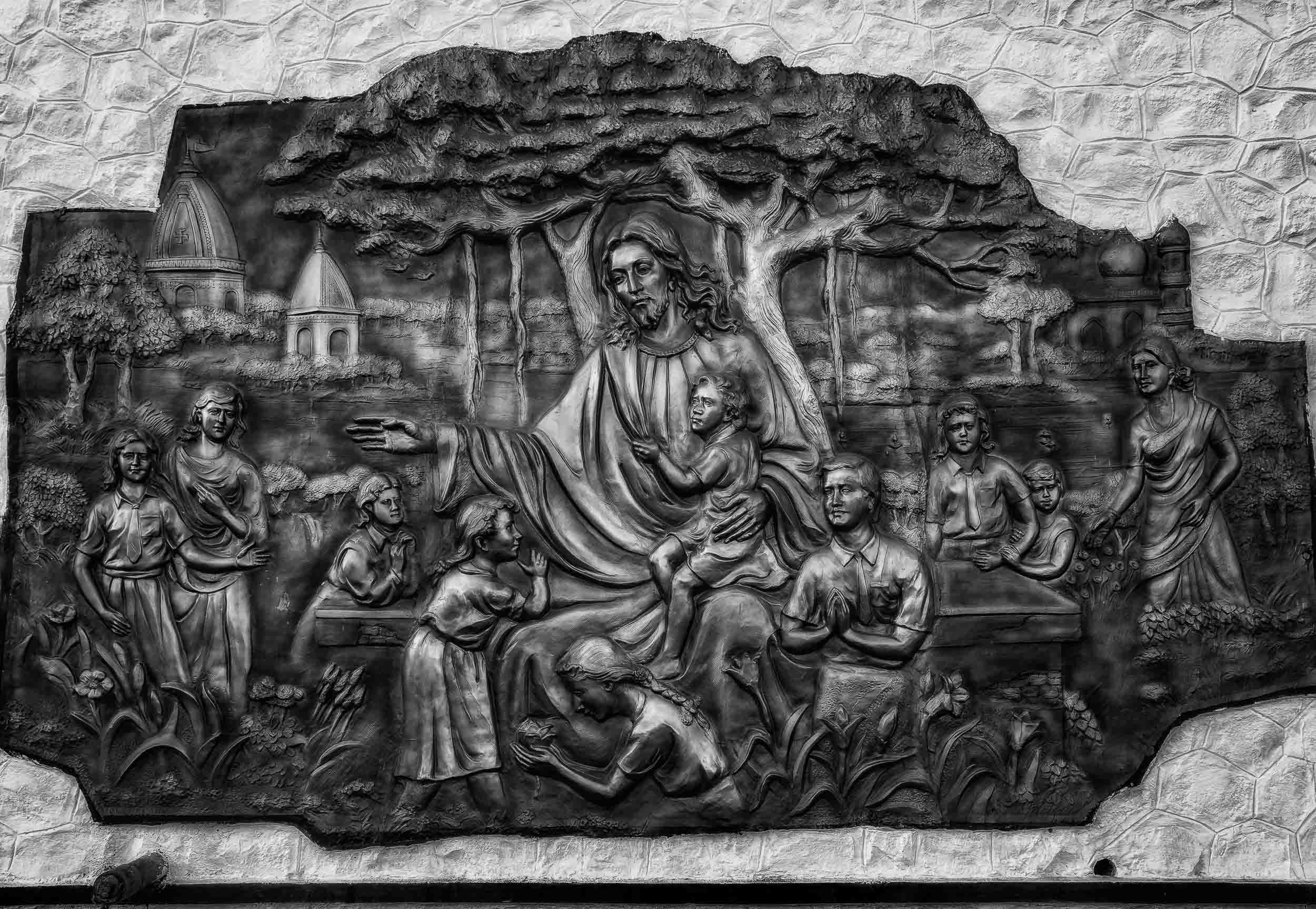 A copper relief of    Jesus Christ   , in an idyllic setting, on    St. Thomas Mount    in    Chennai, India   .