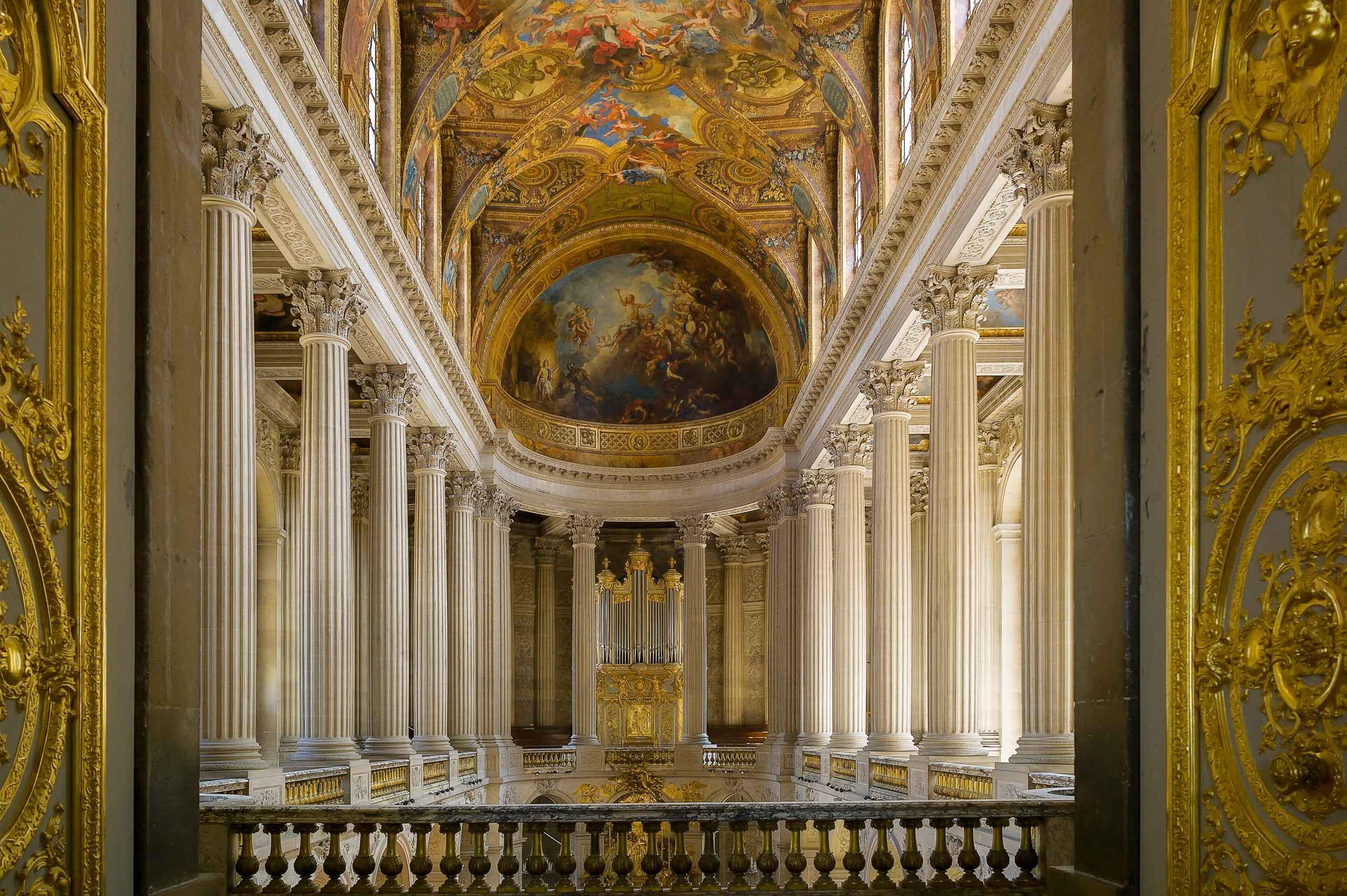 An    interior view    of the spectacular    Palace of Versailles   , France.