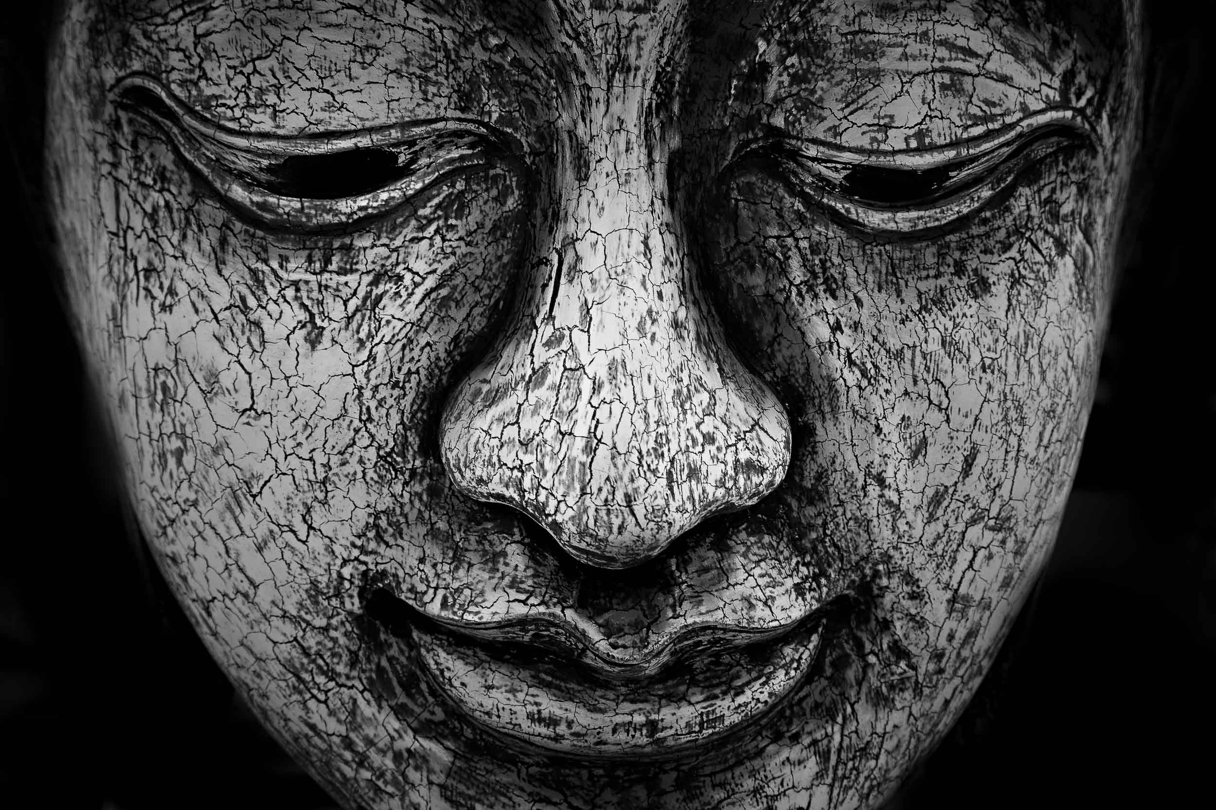 A detailed view of a contemplative study of the    Buddha's face    in this    statue    in rural    Thailand   .