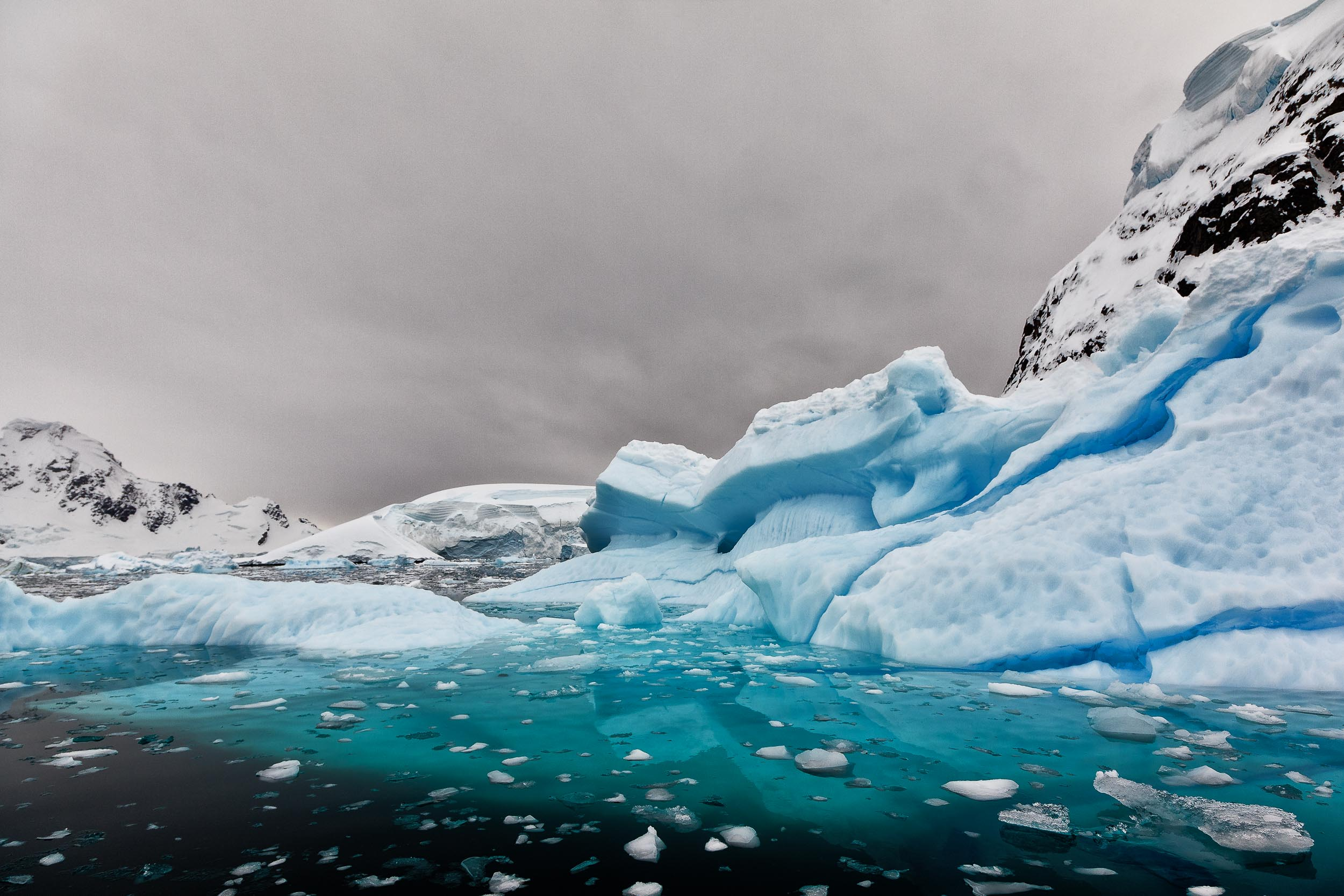 Huge slabs of    bluish colored ice    covering the waters of    Paradise Harbour    in Antarctica.