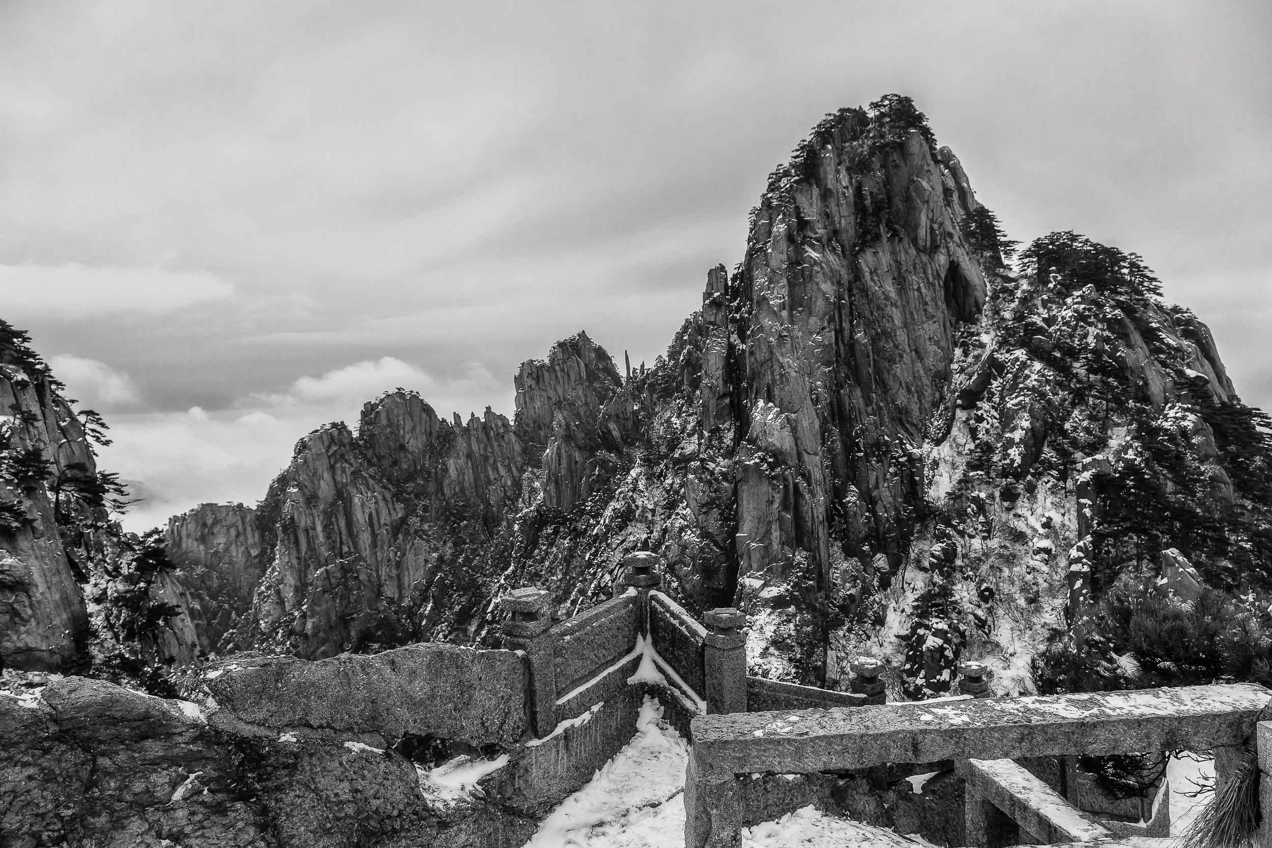 A spectacular and    rugged range of peaks    photograhed from an outlook on    Huangshan    (i.e., Yellow Mountain) in    China   .