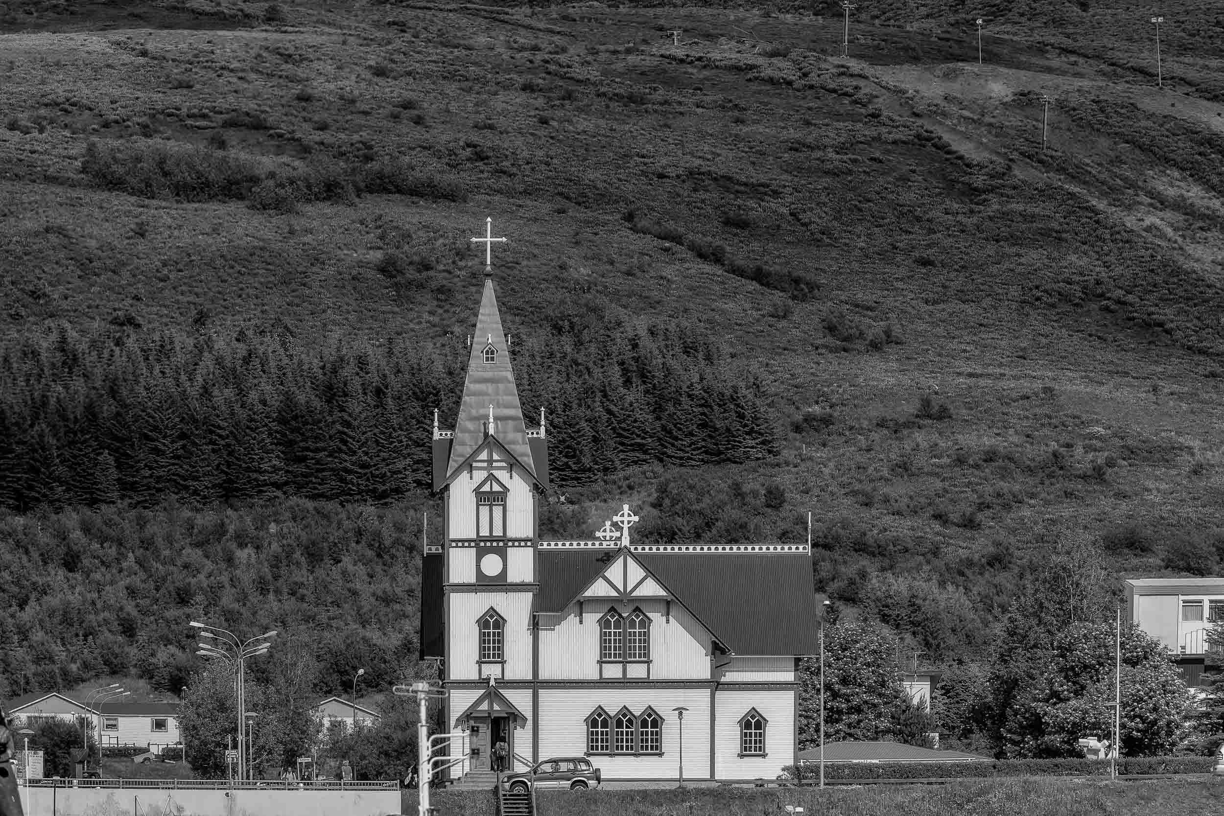 The lovely    Húsavíkurkirkja church    in the town of    Husavik    in    Northeast Iceland   .