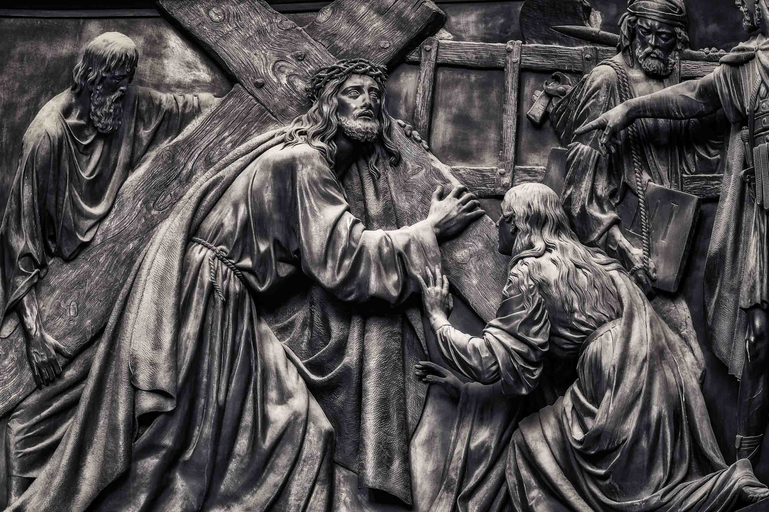 Stunning relief of the road to Calvary on an outside wall of the magnificent    St. Isaac's Cathedral    in    St. Petersburg, Russia   .