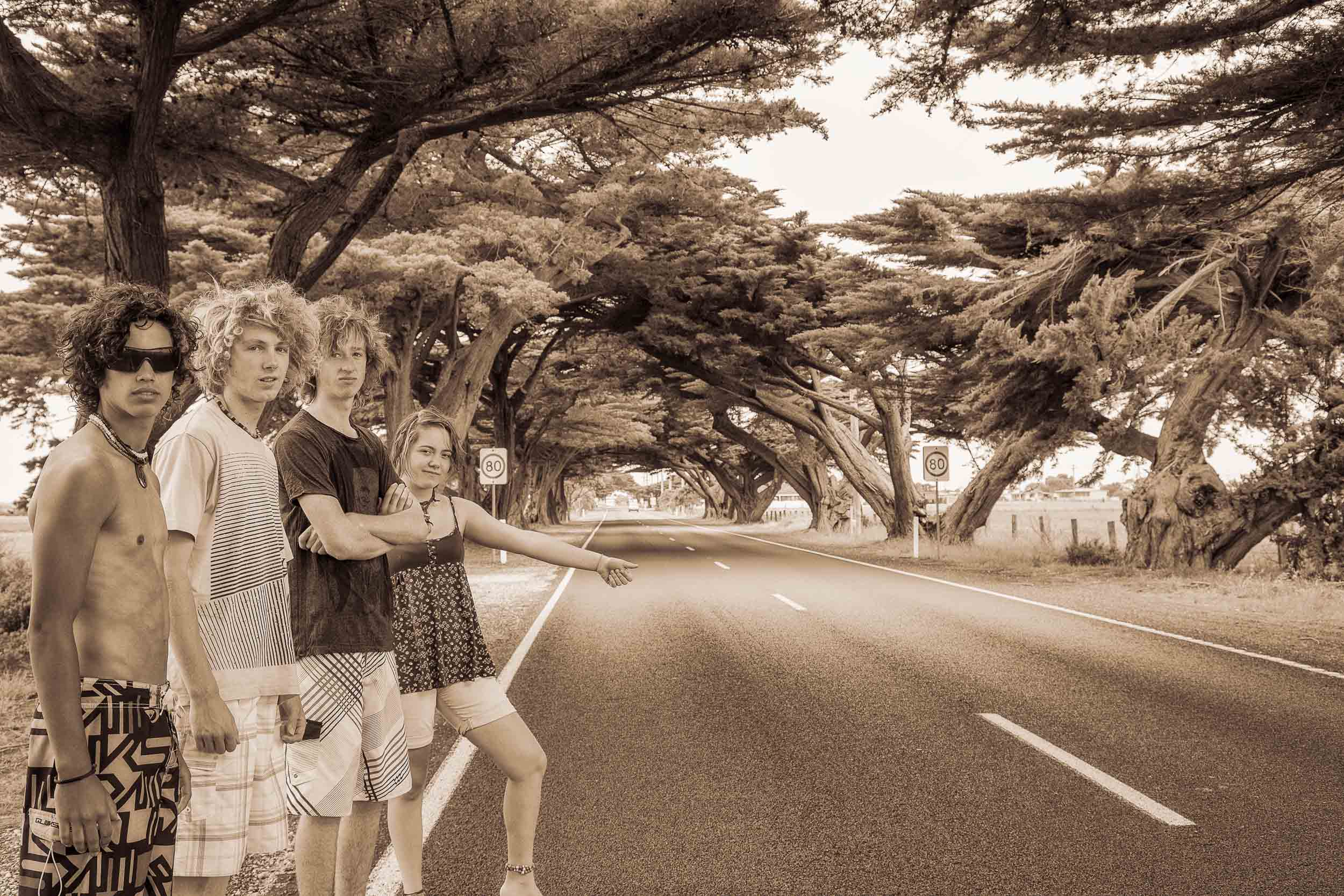 Four great friends    on the road out of    Seaspray, Australia   .