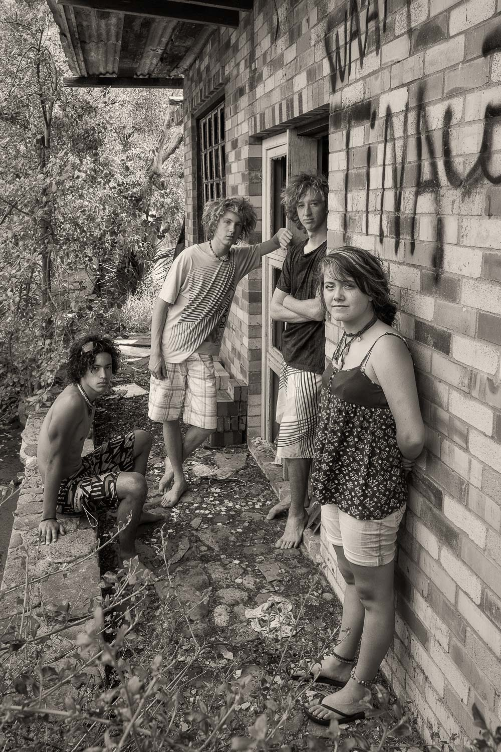 The four members of the band    Saida    at a derelict house in the town of    Seaspray, Australia   .