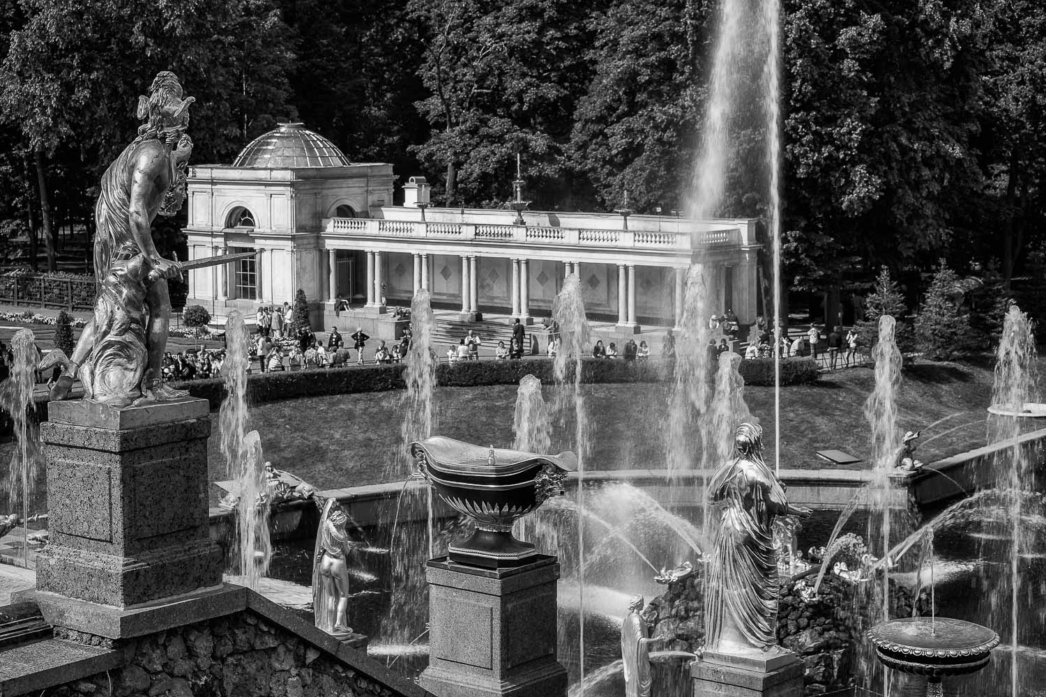 A black and white image showing a rear view of the  Grand Cascade  at  Peterhof Palace  near  St. Petersburg, Russia .