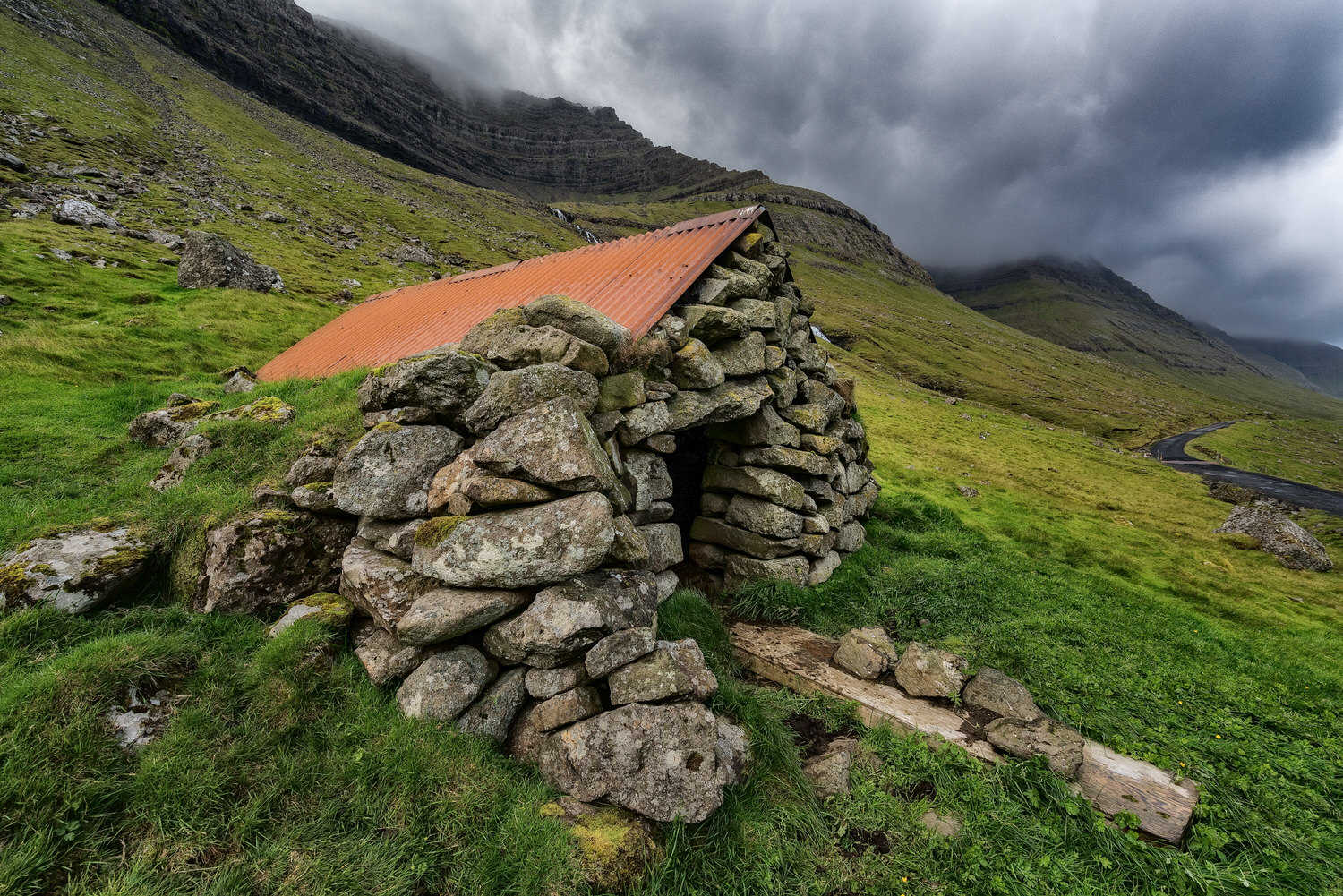 A traditional    sheep shelter    on the island of    Bordoy    in the    Faroe Islands   .