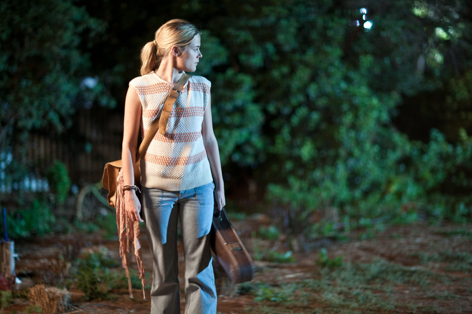 An action based    night scene    of actor    Rachael Taylor    made during the filming of    Summer Coda    in and around the rural city of Mildura in Australia.