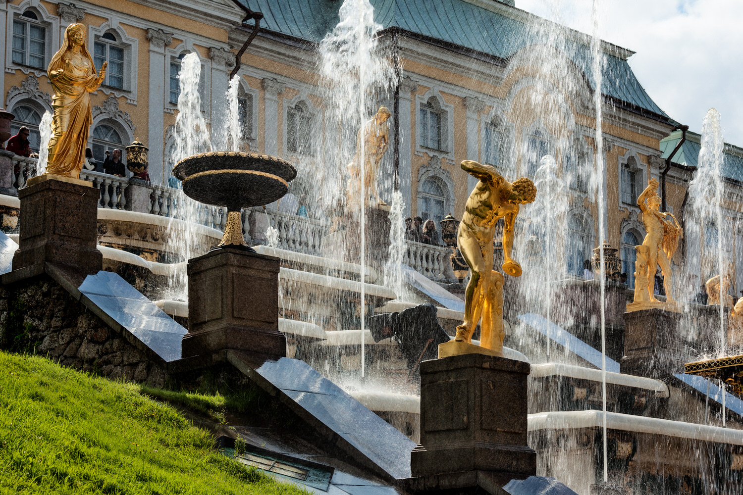 Water fountains and statues    at the fabulous    Grand Cascade    at    Peterhof Palace    near St. Petersburg, Russia.
