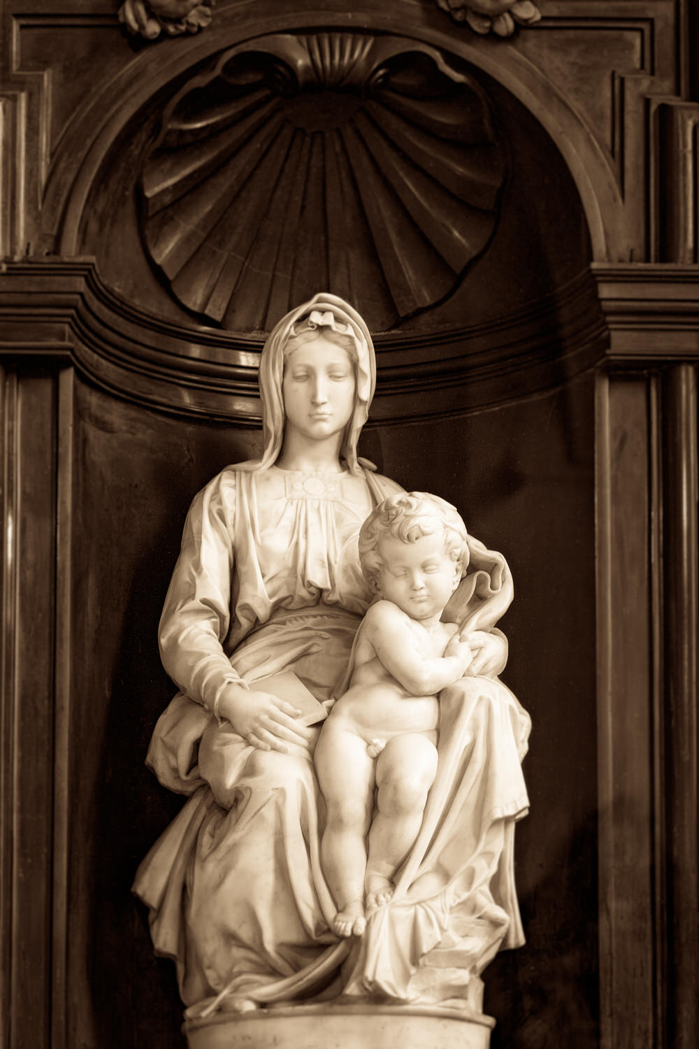 Michelangelo's    Madonna and Child    in the    Church Of Old Lady Bruges    in Belgium.