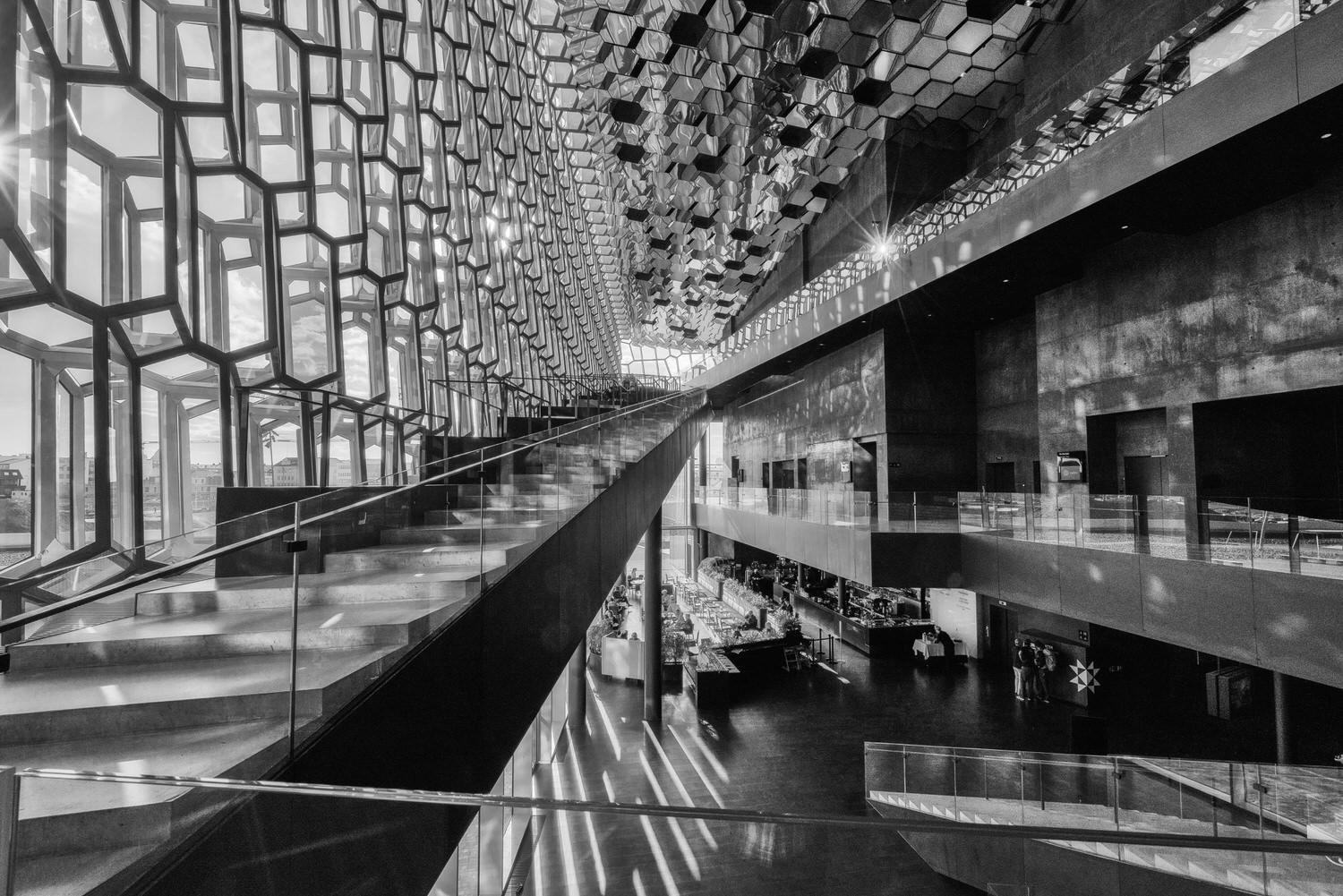 Light and shade together with light and shape provide an expansive view of the spectacular  Harpa Performing Arts Centre  in  Reykjavik, Iceland .