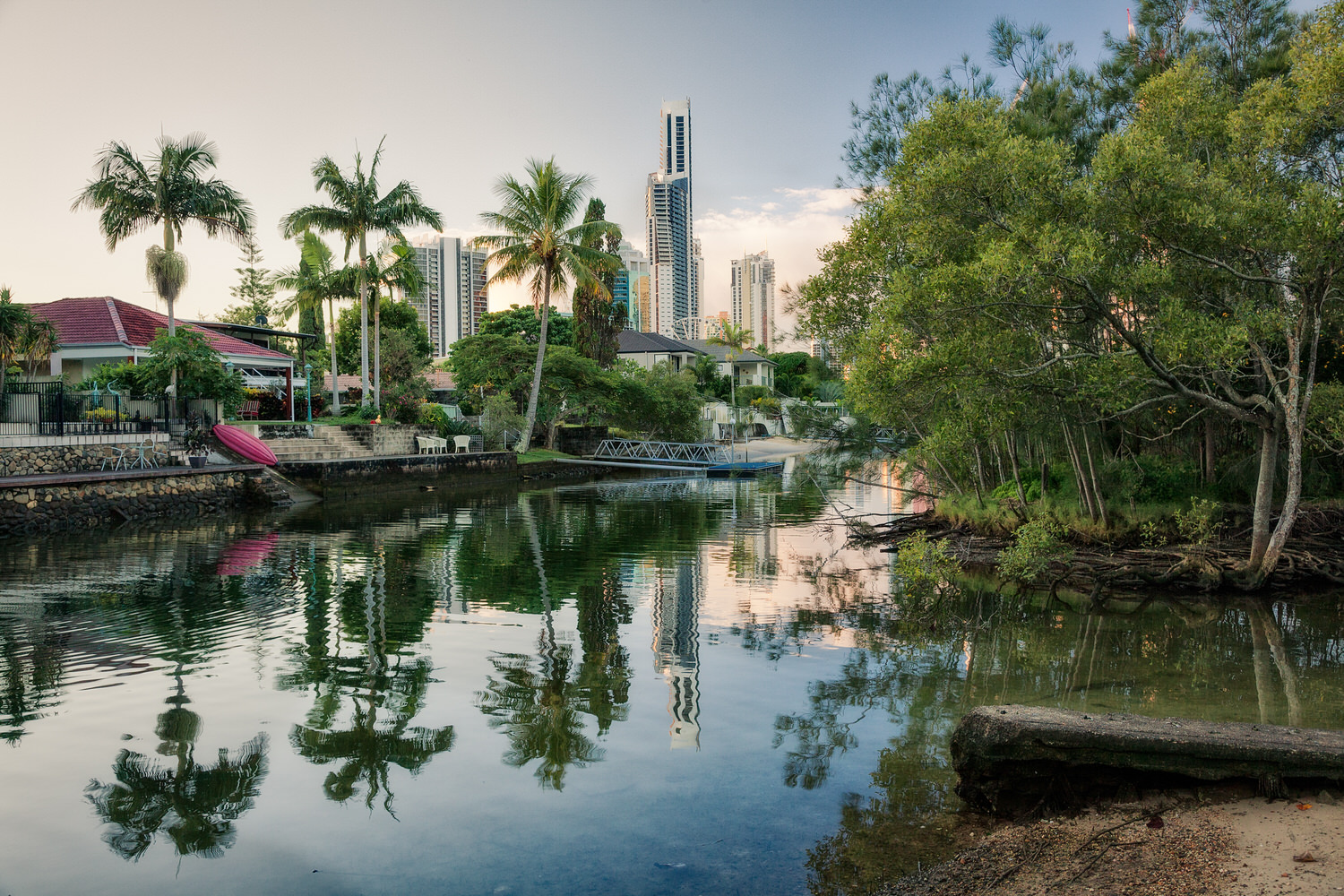 An idylillic life for local residents on one of the    tranquil waterways    in    Surfers Paradise   , Queensland.