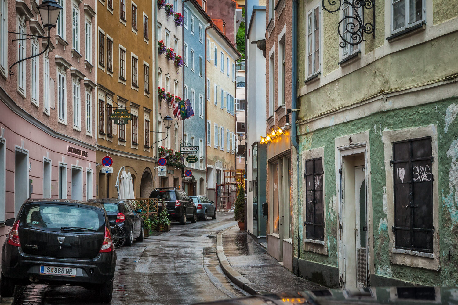Beautiful color along this backstreet on a rainy day in  Salzburg, Austria .