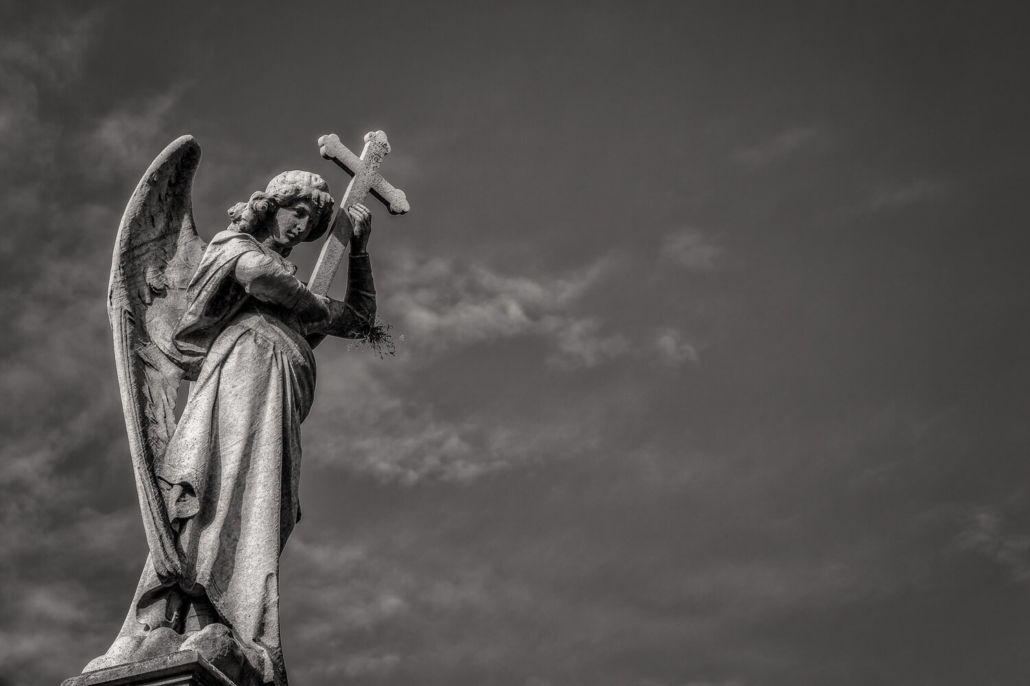 Angel Statue and Cross, La Recoleta Cemetery in Buenos Aires
