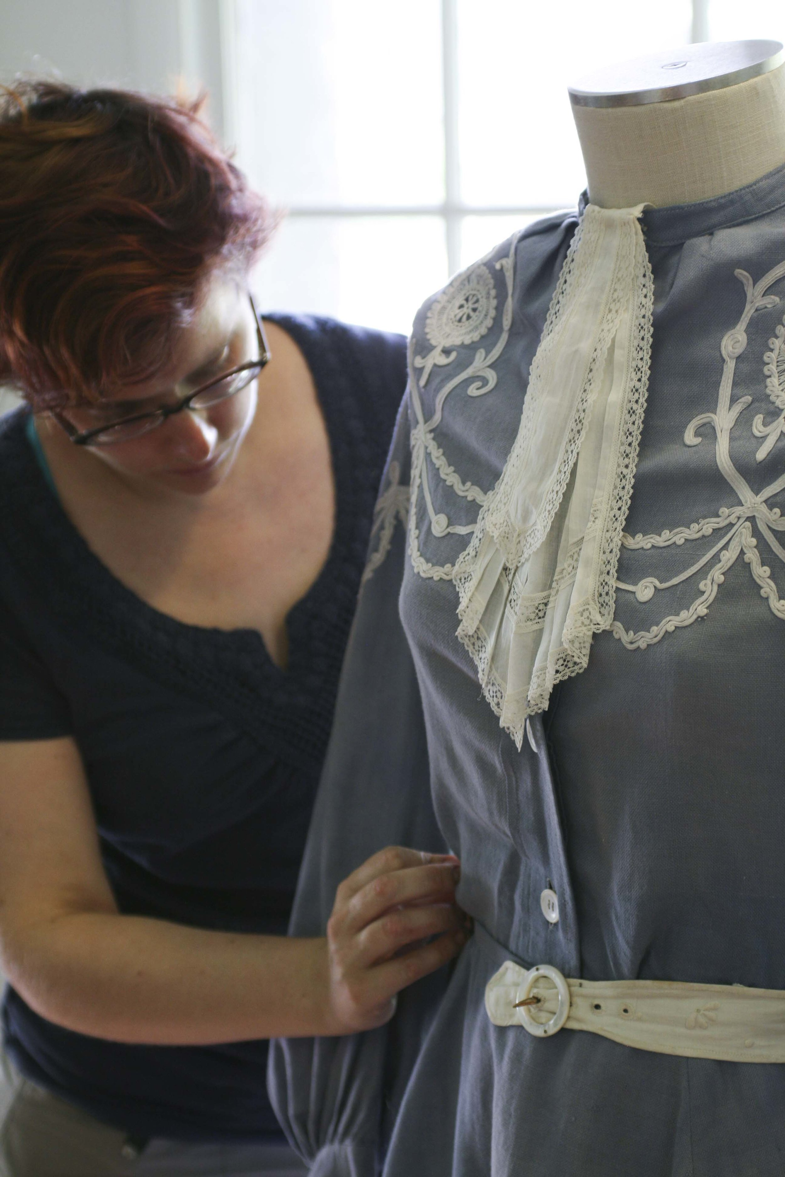 She will take her notes back to West Texas A&M and create patterns and fine-tune them with muslin recreations of the garments. After perfecting the patterns, she will distribute the patterns to her costume design students to sew costumes for the  A Flea in Her Ear production.