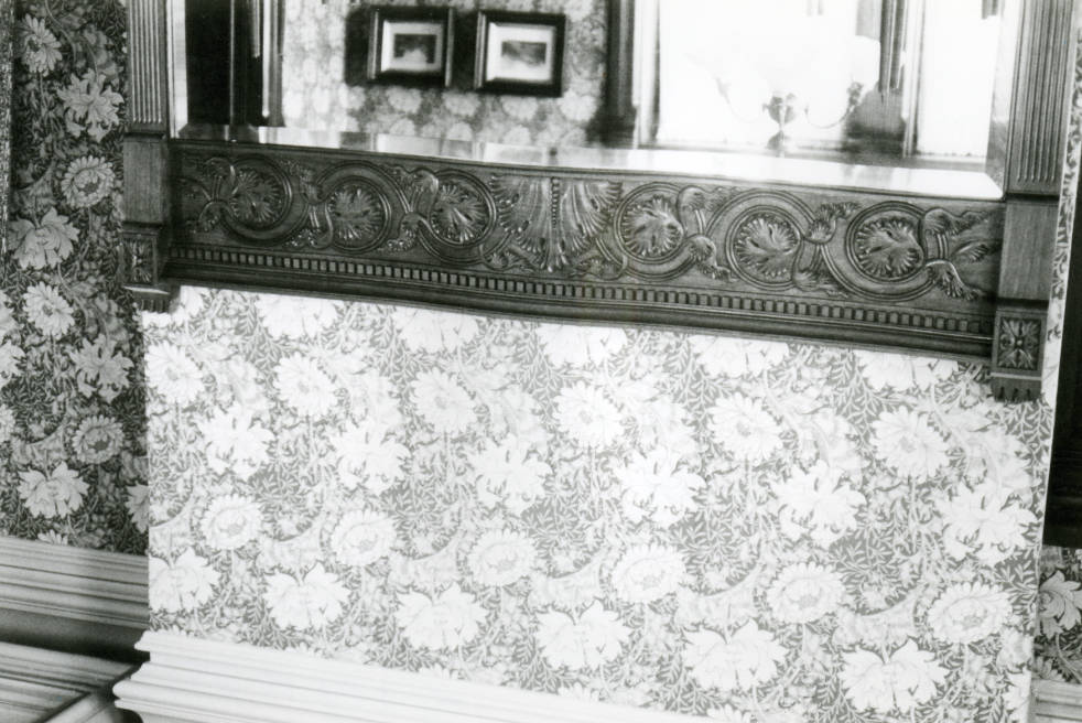 Circa 1980. This photo shows the wall above the mirror which is above the fireplace in one of the Avery house rooms.
