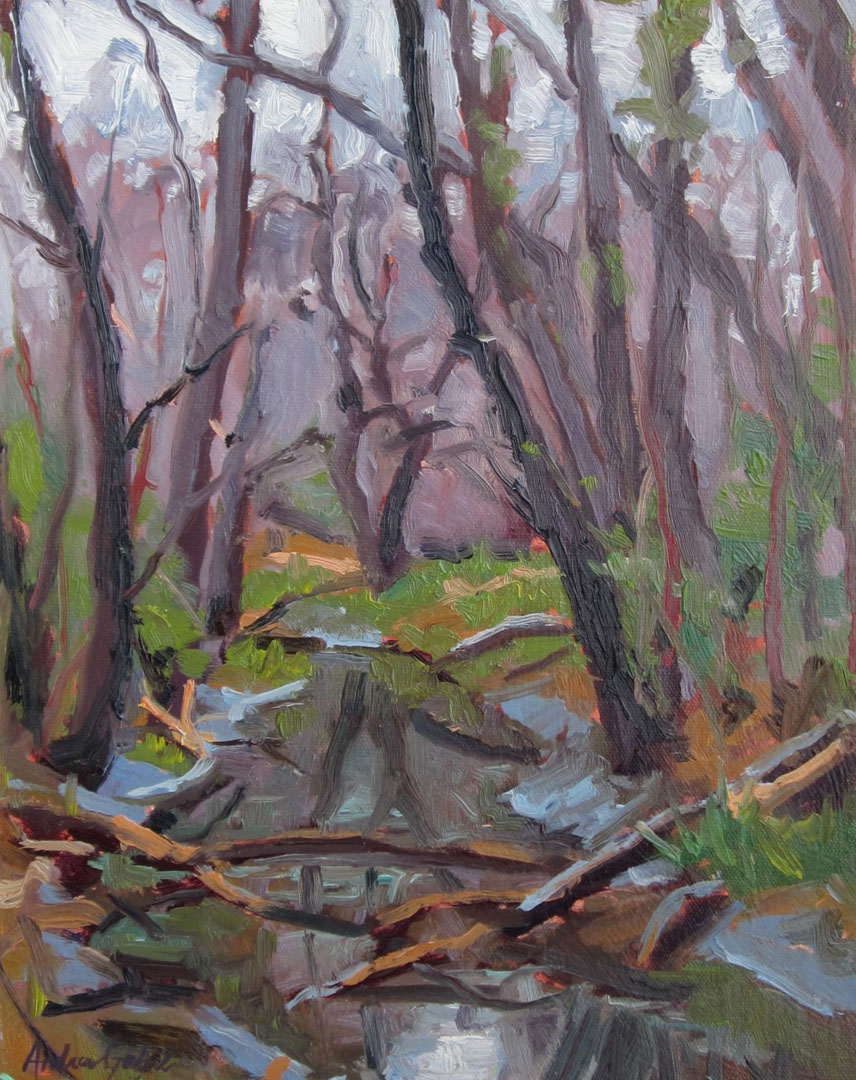 Forest Gully, 14x11, oil plein air, 4-18-16, 475., Lee Martinez Pa.jpg