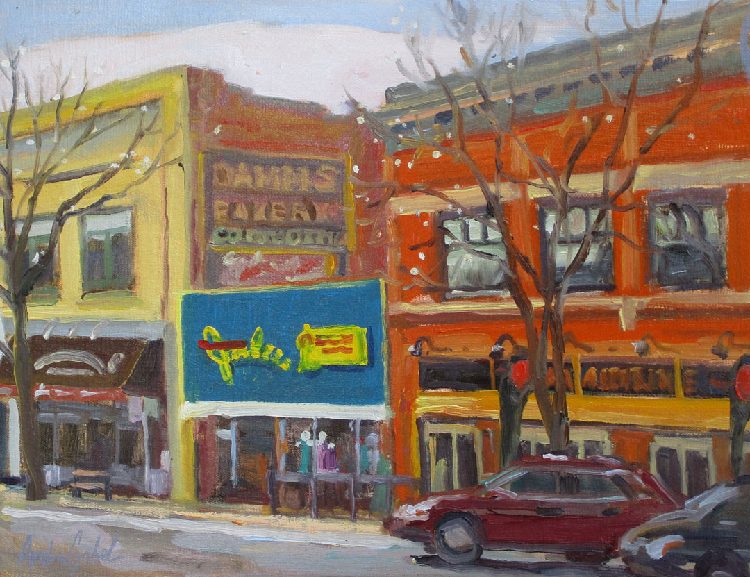 Gabel, College Street, oil-plein air, 2-11-16, 11x14, 475., Fort Collins.jpg