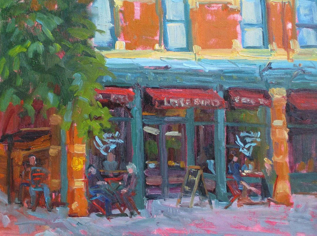 Gabel, Little Bird in town, oil-plein air, 5-18-18, 12x16, 600.  Fort Collins, CO.jpg