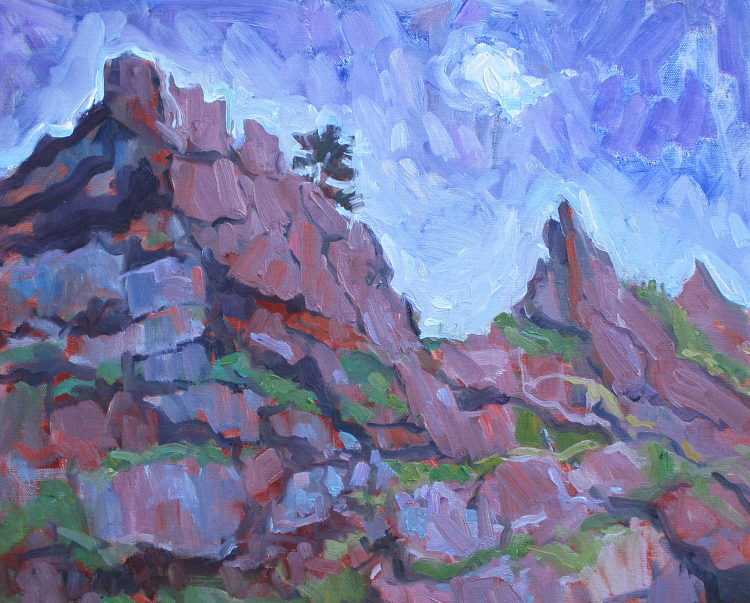 Gabel, Tip of Top, Oil plein air, 5-11-18, 16x20, 800. Picnic Rock.jpg