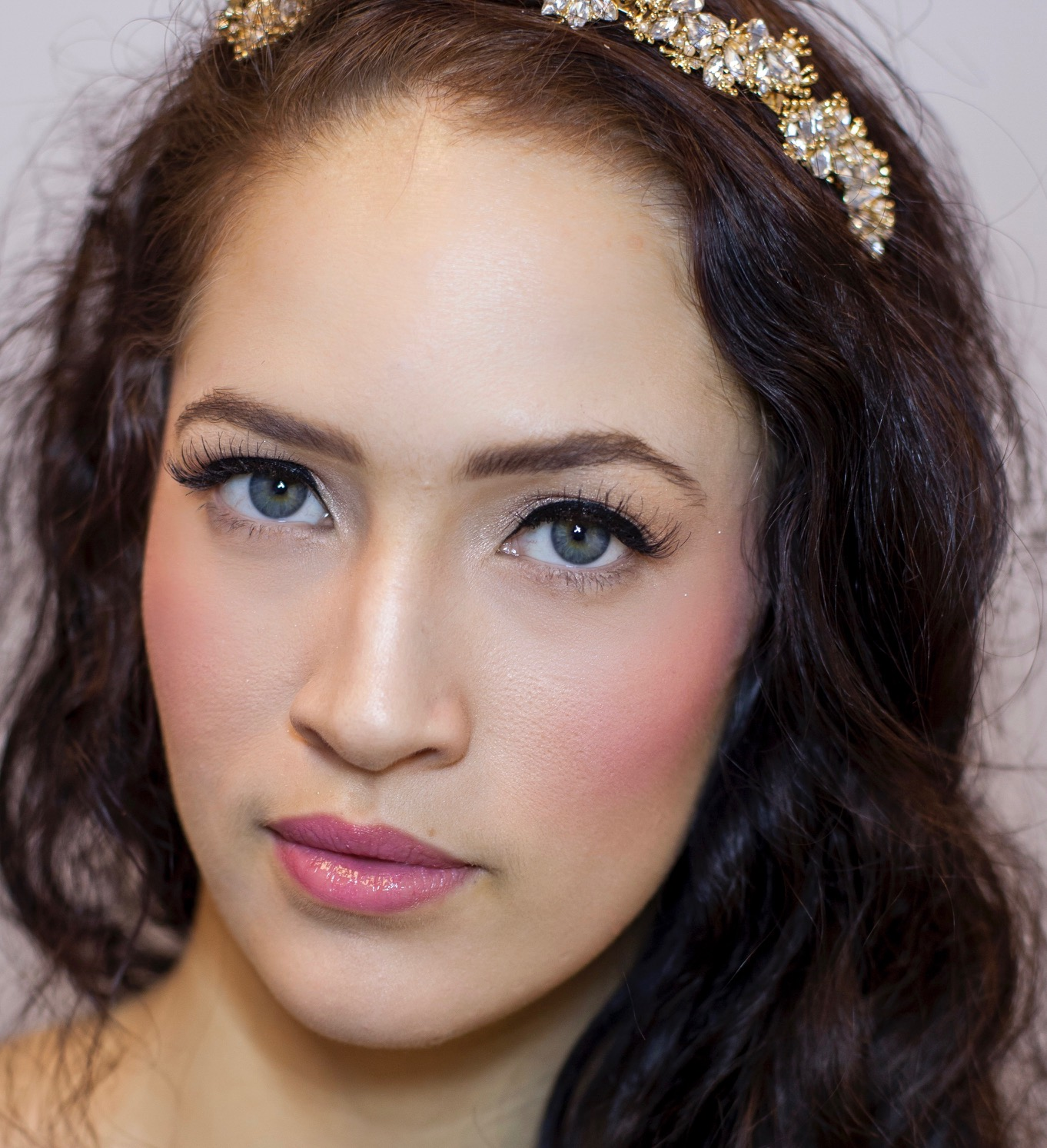 Trend: Color  The blushing bride because who doesn't love a little pink blush? Add pops of color to your cheek and lip, on the bridal runway they were bold and matched  Photo  Kat St John Photo   Model Amelia Carter