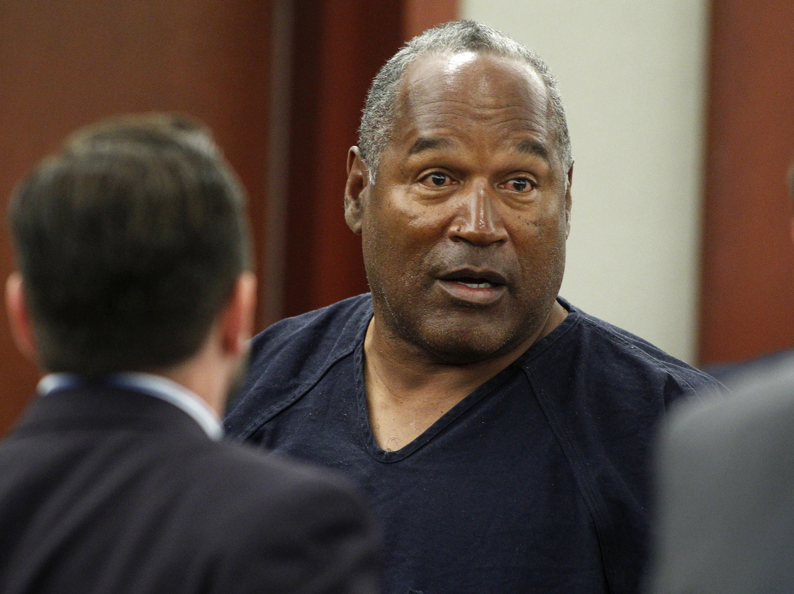 A bloated O.J. in court.