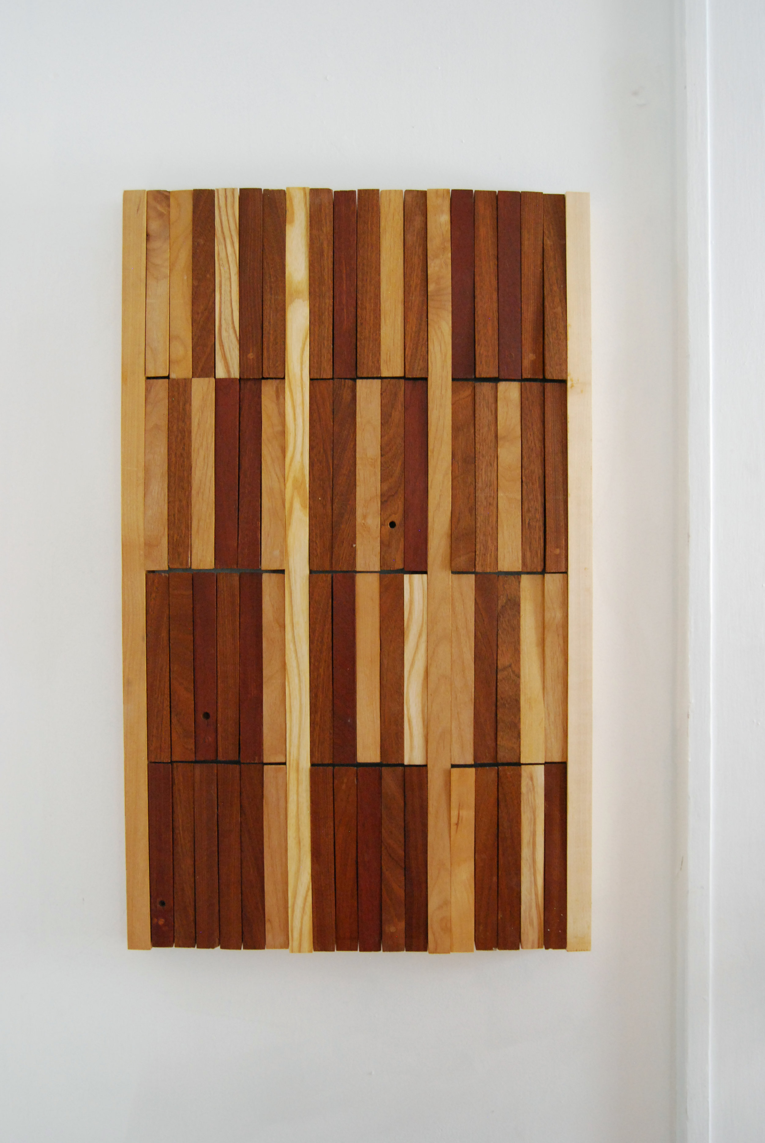 "Functional wood mural.  Overall.  24"" x 36"" x .1.5"".  Various reclaimed hardwoods.  2016.   © Theresa Akers. Photo by Justin Sims. All rights reserved."