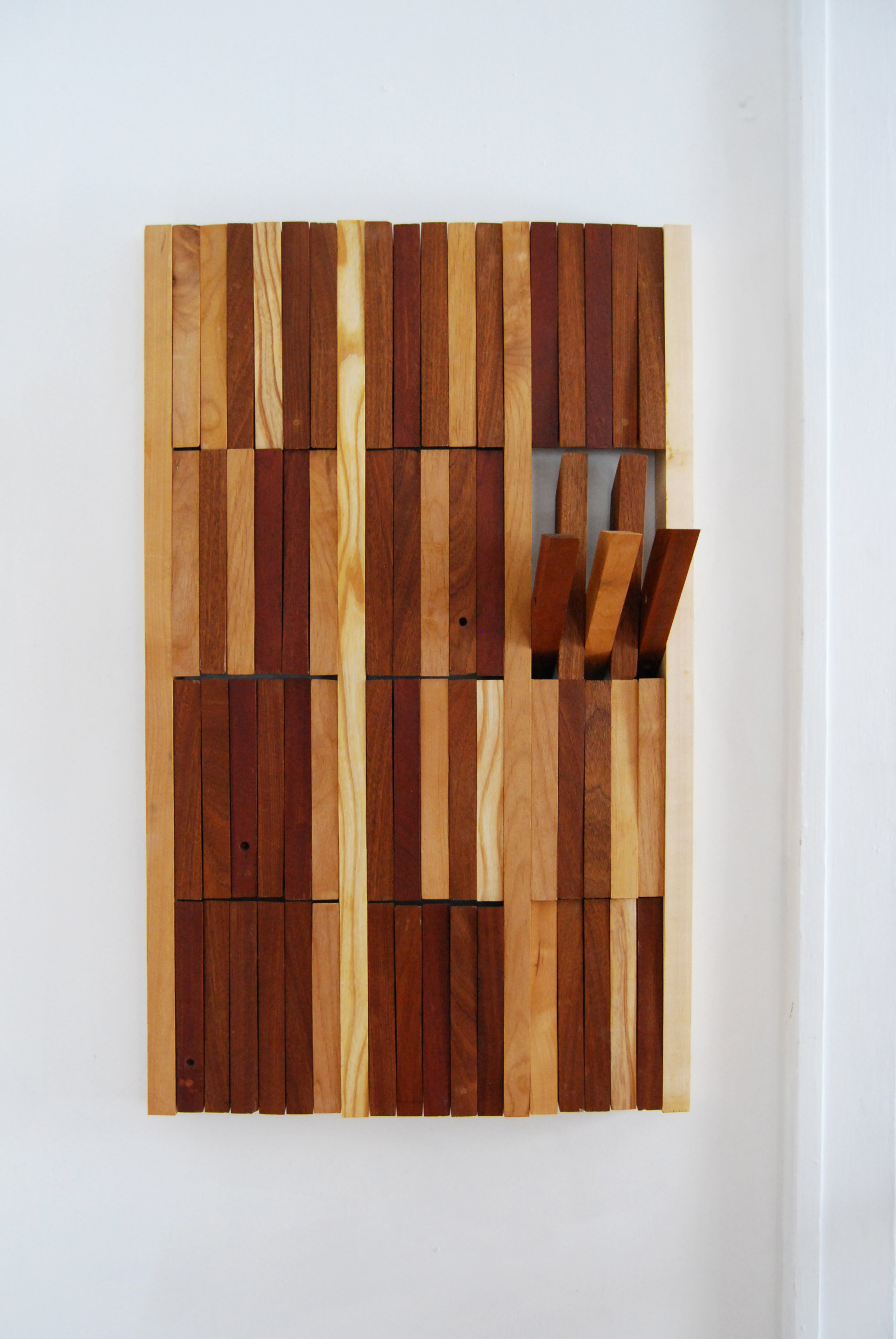"Functional wood mural.  Overall. Detail of articulation.  24"" x 36"" x .1.5"".  Various reclaimed hardwoods.  2016.   © Theresa Akers. Photo by Justin Sims. All rights reserved."