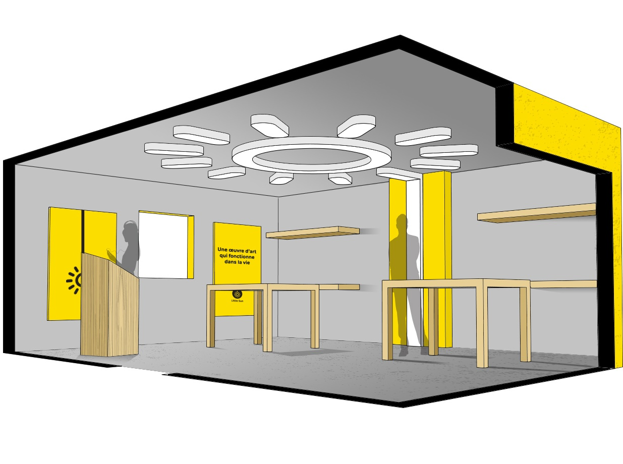 """Retail concept, """"Little Sun"""" pop-up shop.   Collaboration with Justin Sims.   Contributions: 3D rendering and CAD work. Co-creative art direction/visioning.   2017.    © Theresa Akers, Justin Sims. All rights reserved."""
