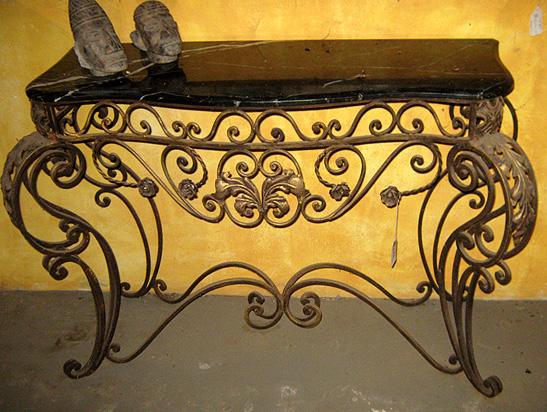 Large decorative iron sidetable marble top.jpg