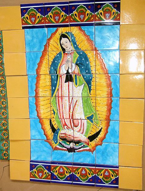 Mex Talavera tile Mural - Guadalupe large