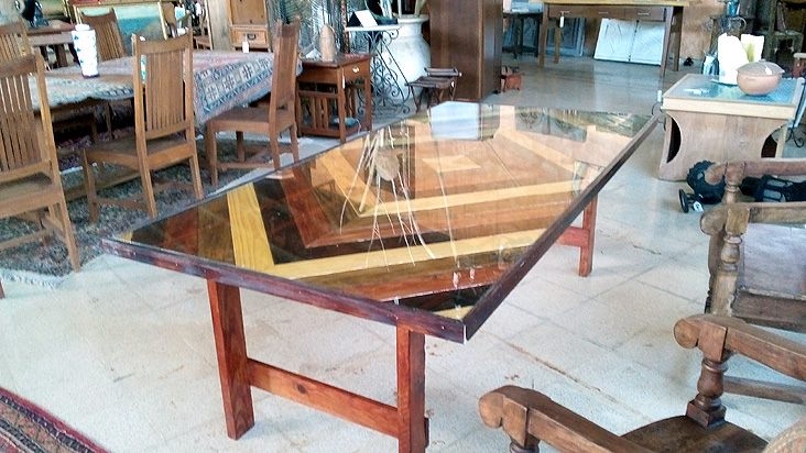 Cool 7ft dining table - roble with glass top - $400