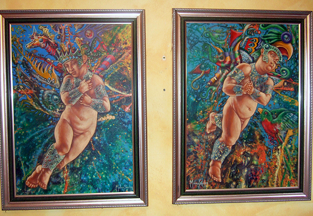 2 Ecuadorean oil Paintings of Sea Cherubs