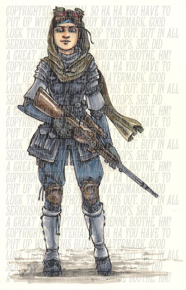 """Show Notes Fig. 2401: Our artist friend, Jenn, captured this awesome character concept of Adrienne """"Shade"""" Boothe."""