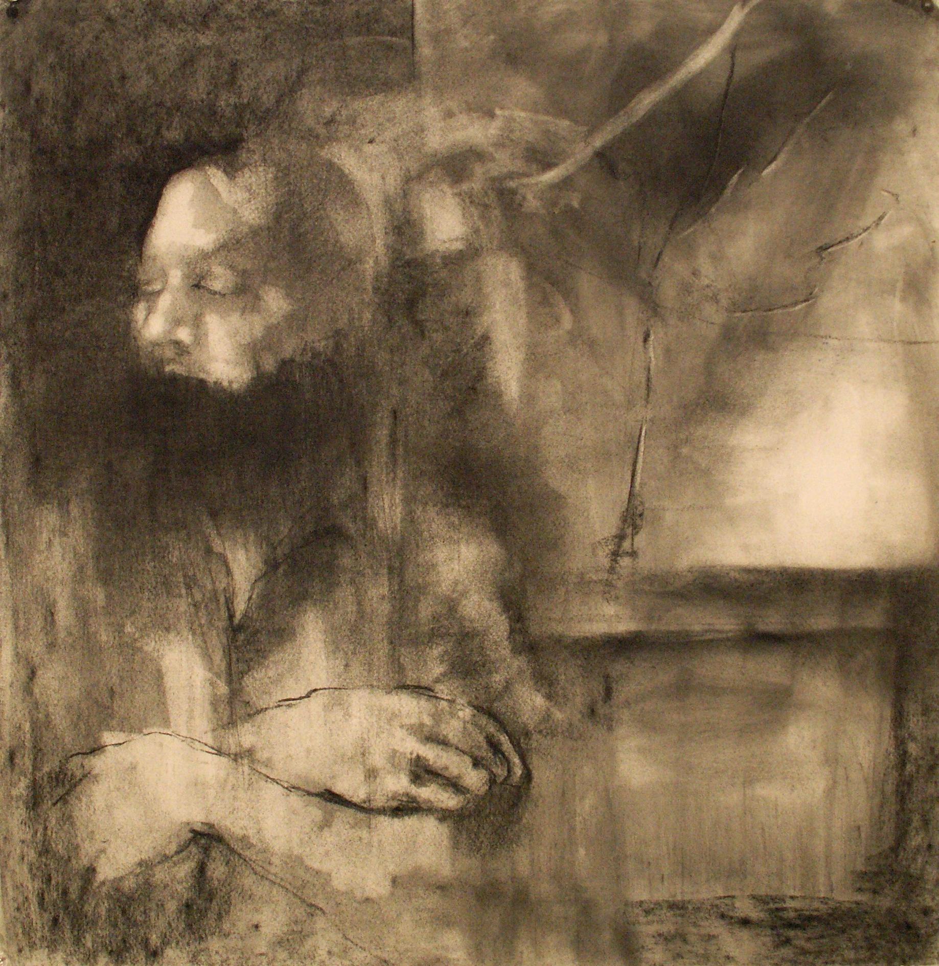 """""""Poor Daniel"""" charcoal 2009"""